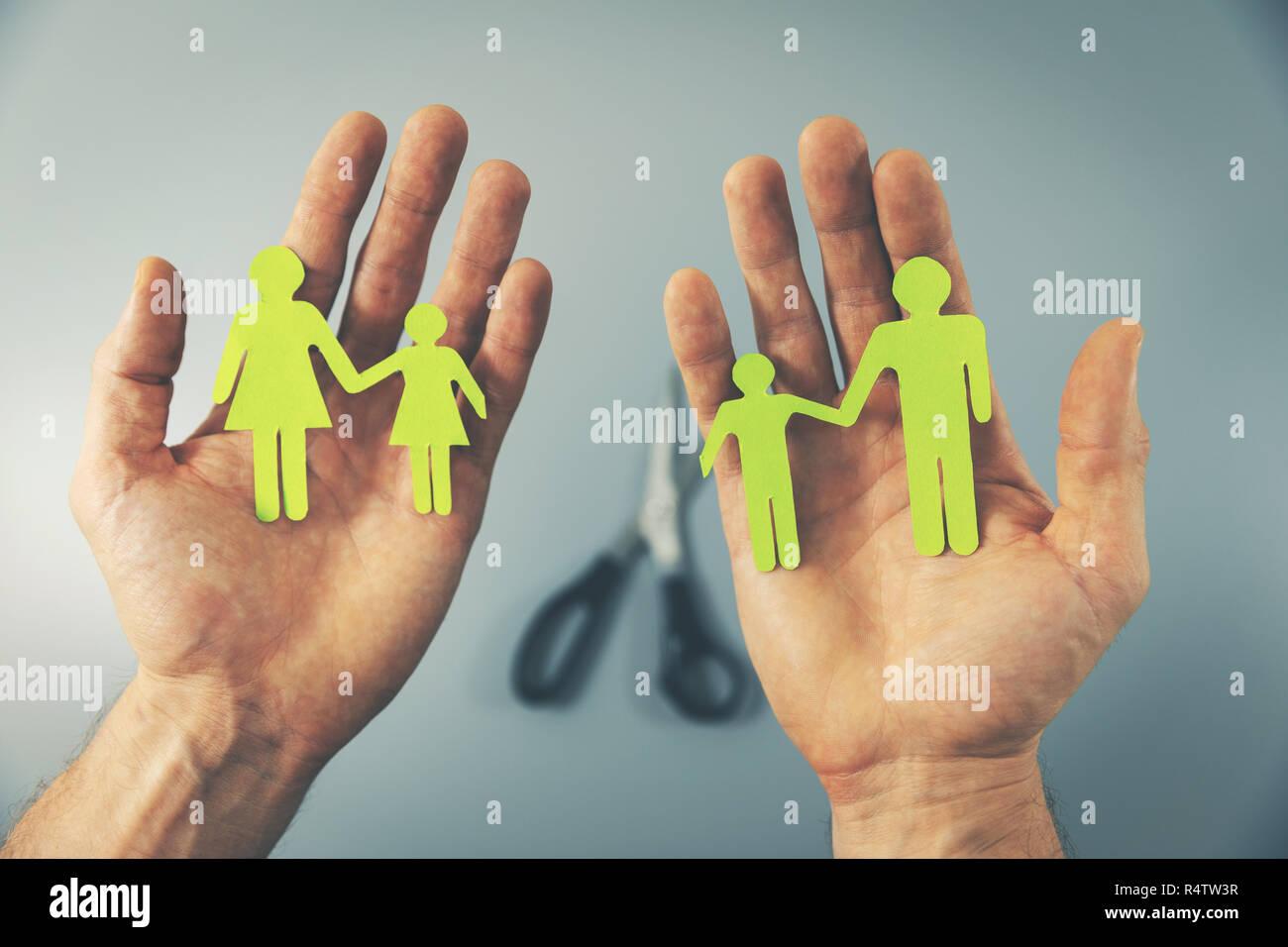 family split after divorce concept - Stock Image