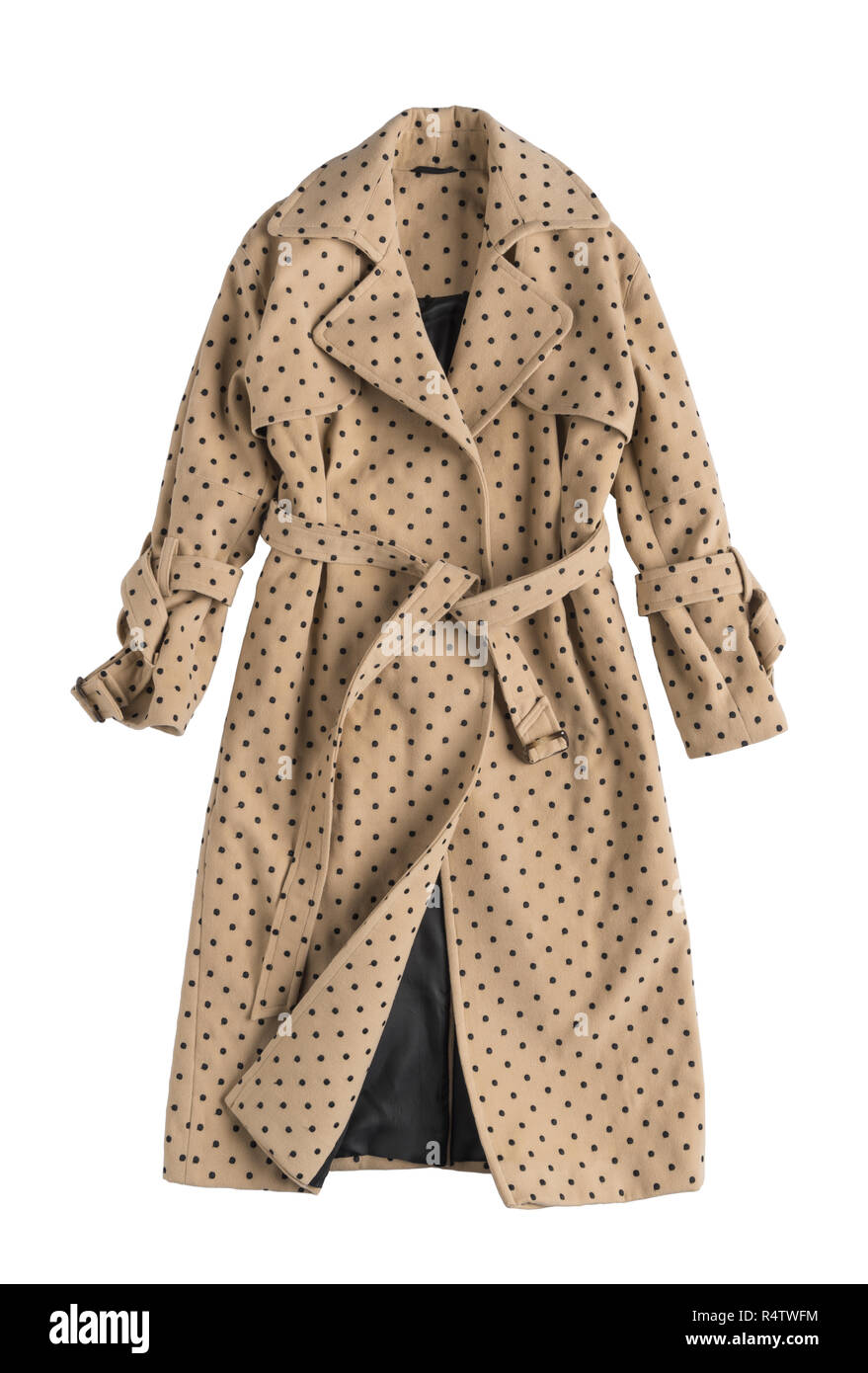 beige women's trench coat in polka dots on a white background - Stock Image