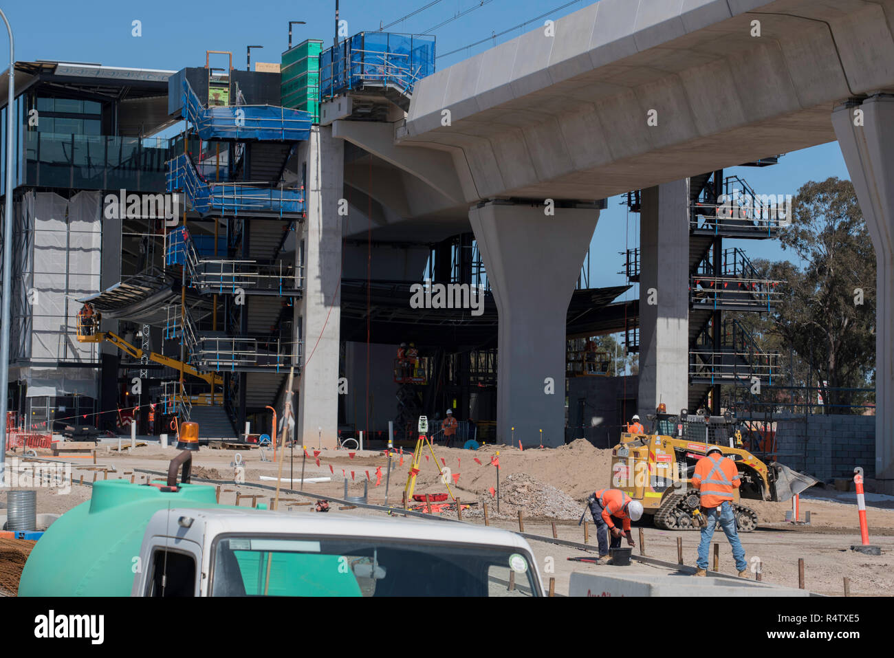 September 2018 Kellyville (Sydney) NSW, Construction of the Sydney Metro Northwest rail line is presently on budget and ahead of schedule - Stock Image