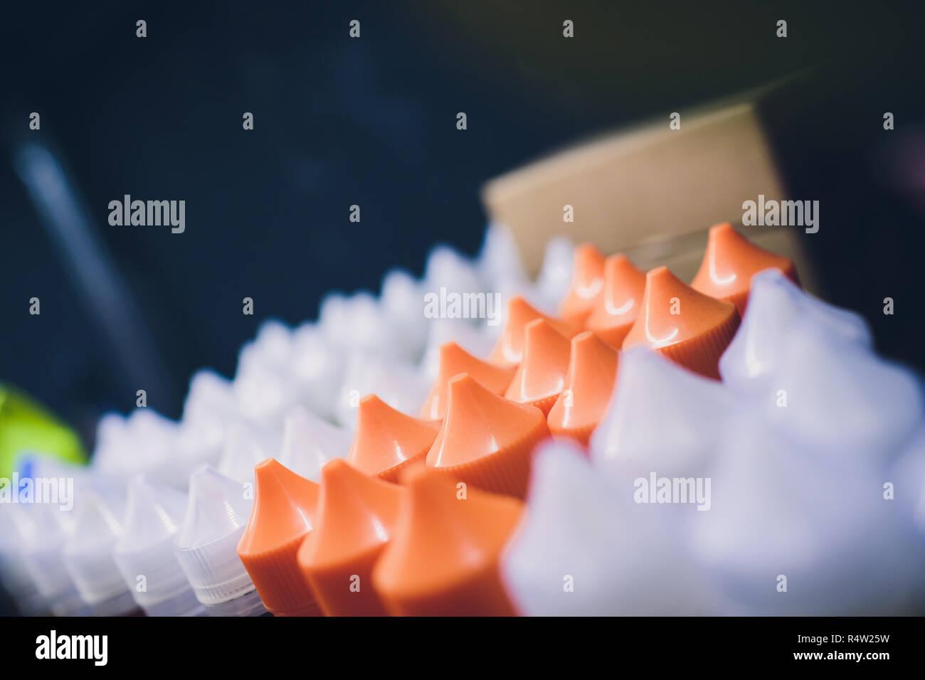 Flavor for electronic cigarette bottle liquid vape. - Stock Image
