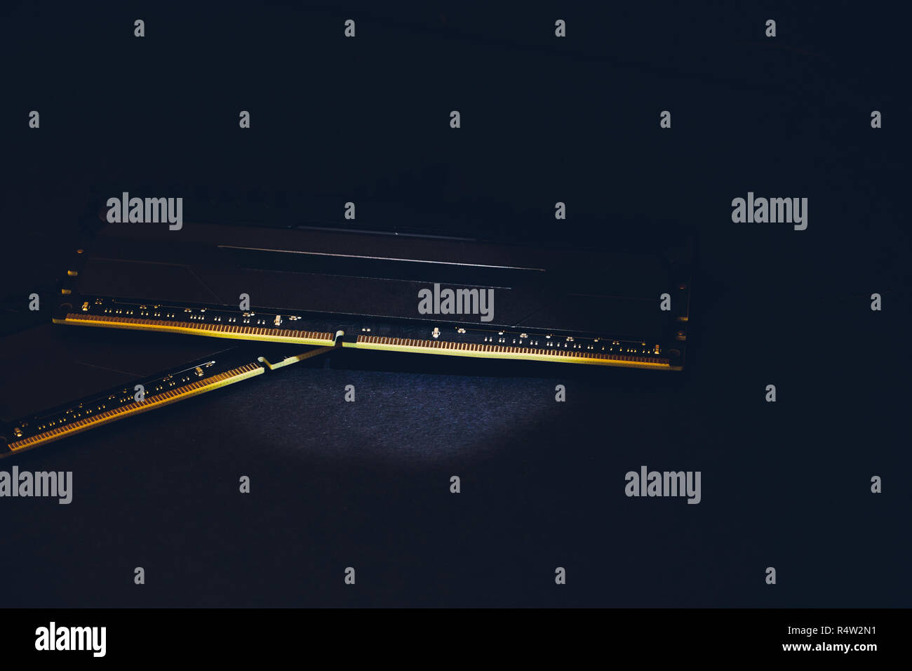 Photo of DDR RAM memory module on black background Macro. - Stock Image