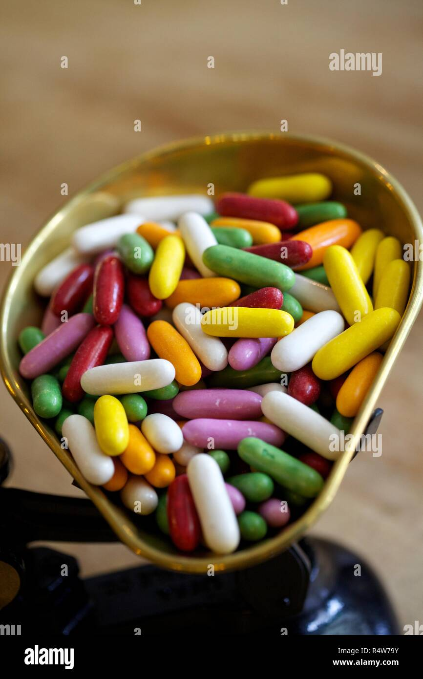 Tray of multi coloured jelly beans sweets - Stock Image