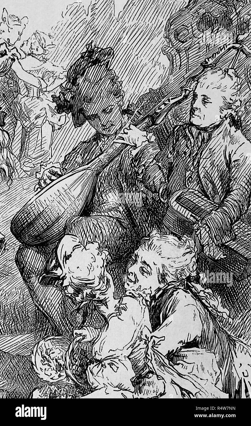Aristocracy. 18th century. Dance scene. Detail of the musics. Engraving of Germania, 1882. - Stock Image