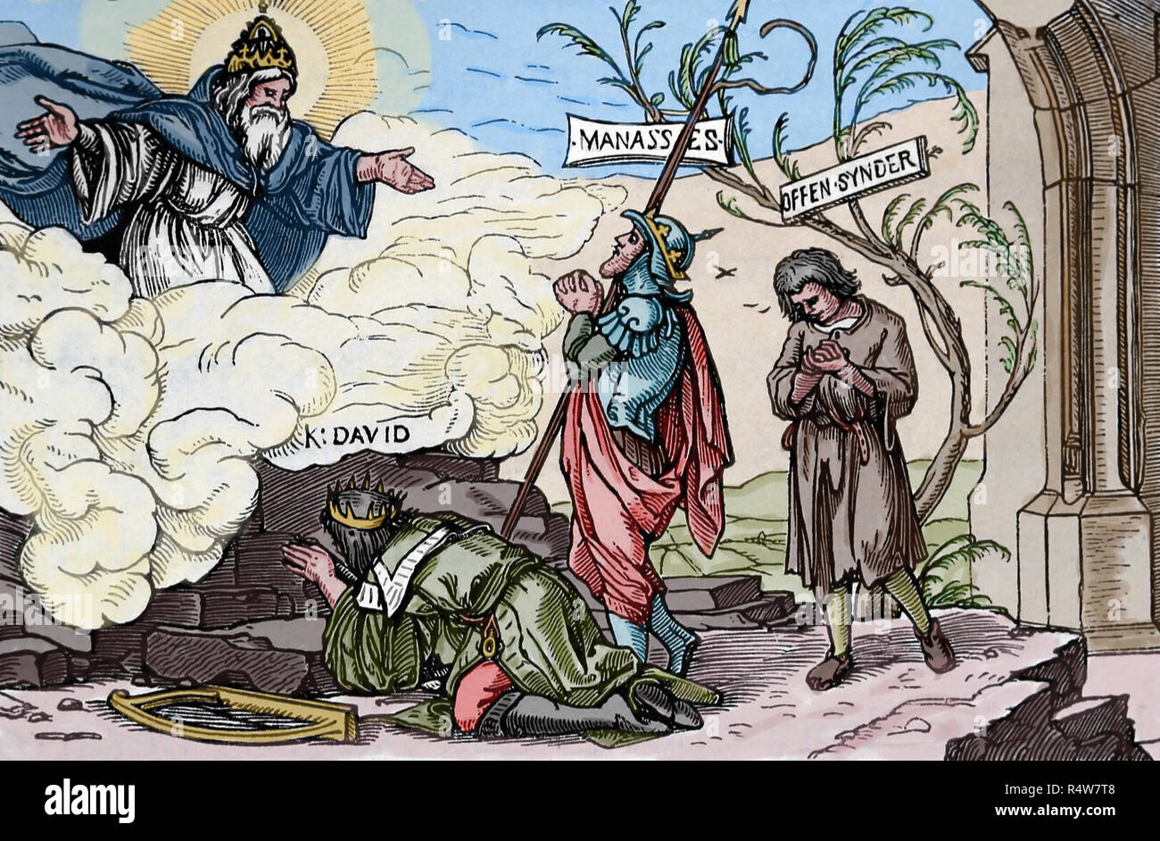 Hans Holbein the Younger (1497-1543). German artist . Reformation propaganda. True and false forgiveness, 1529. - Stock Image