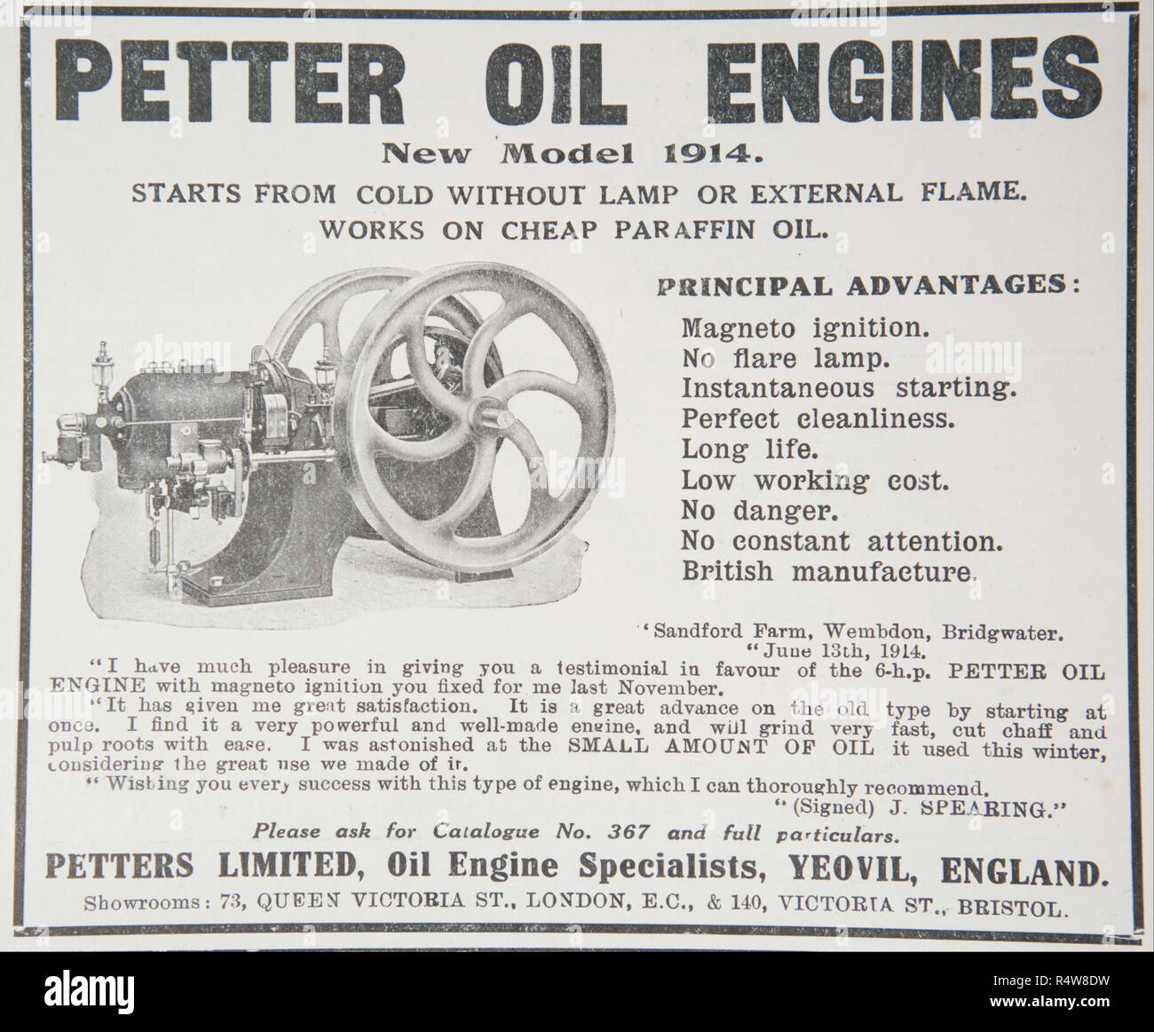 An old advert for Petter Oil Engines. From a British magazine from the 1914-1919 period. England UK GB - Stock Image