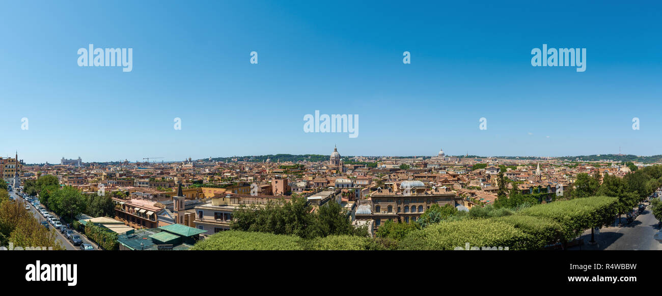 Rooftop panoramic view of Rome, Italy - Stock Image