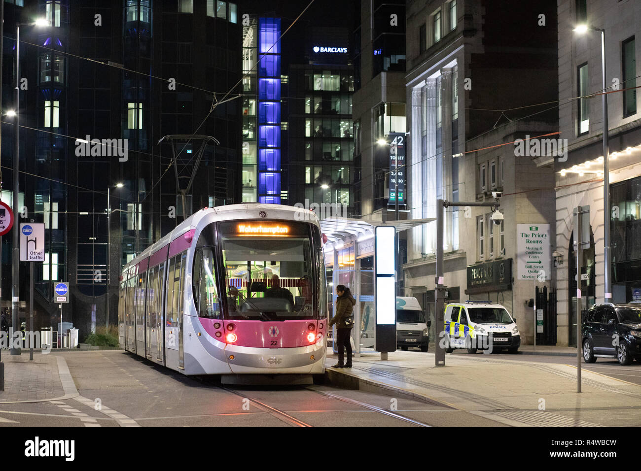 A Birmingham to Wolverhampton tram stops in Priory Queensway Birmingham to collect passengers - Stock Image