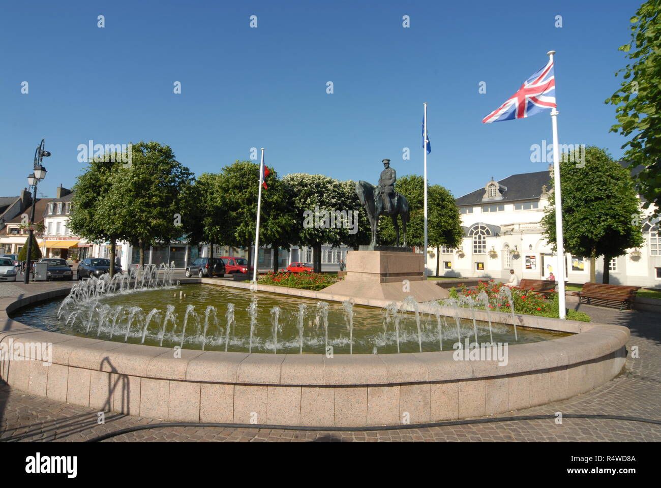 A horse mounted statue of British forces, Field Marshal Douglas Haig in the square of Montreuil sur mar, a few miles inland from Boulogne in Northern  - Stock Image