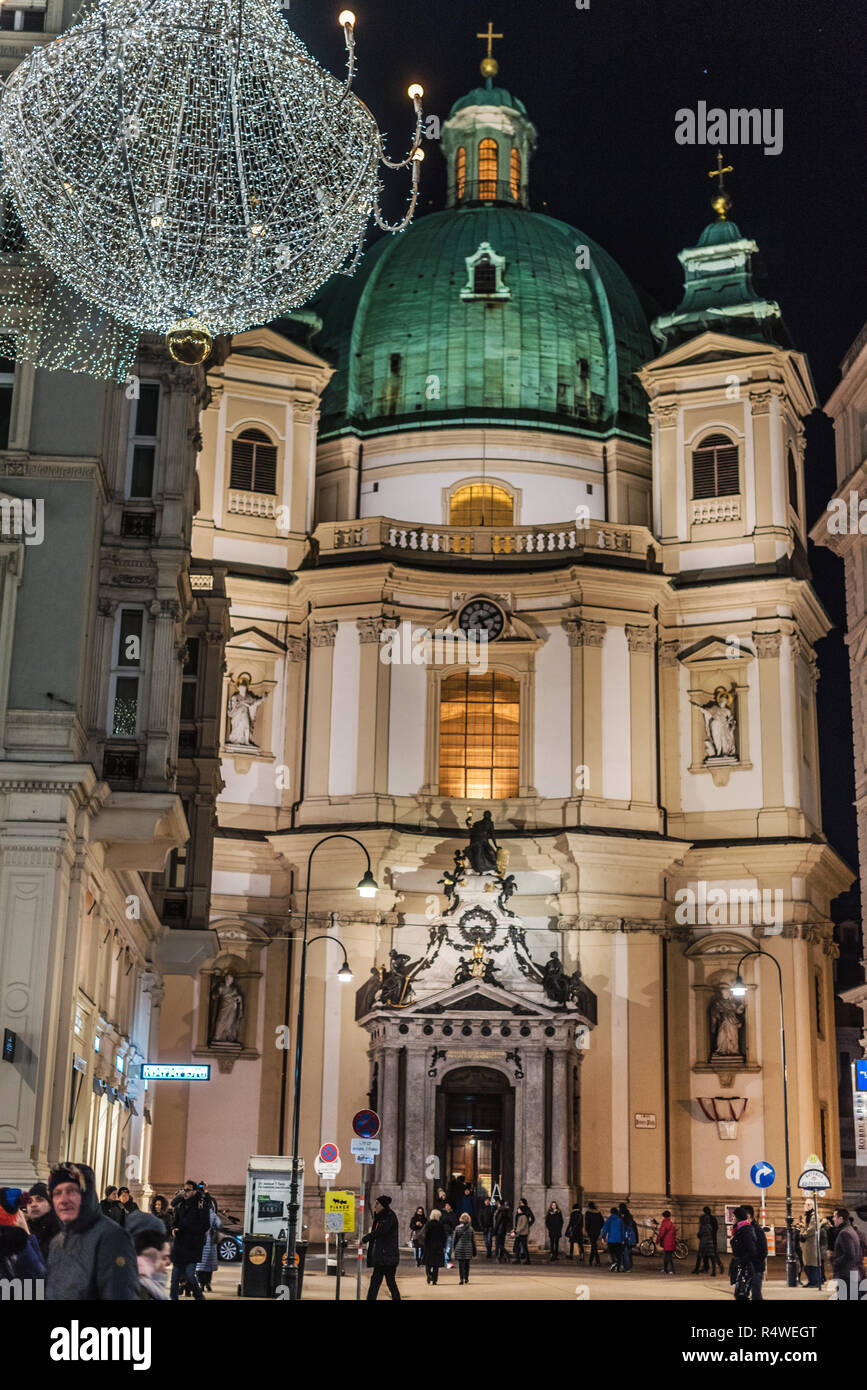 Vienna, Austria - December 24, 2017  St  Peter's Church or