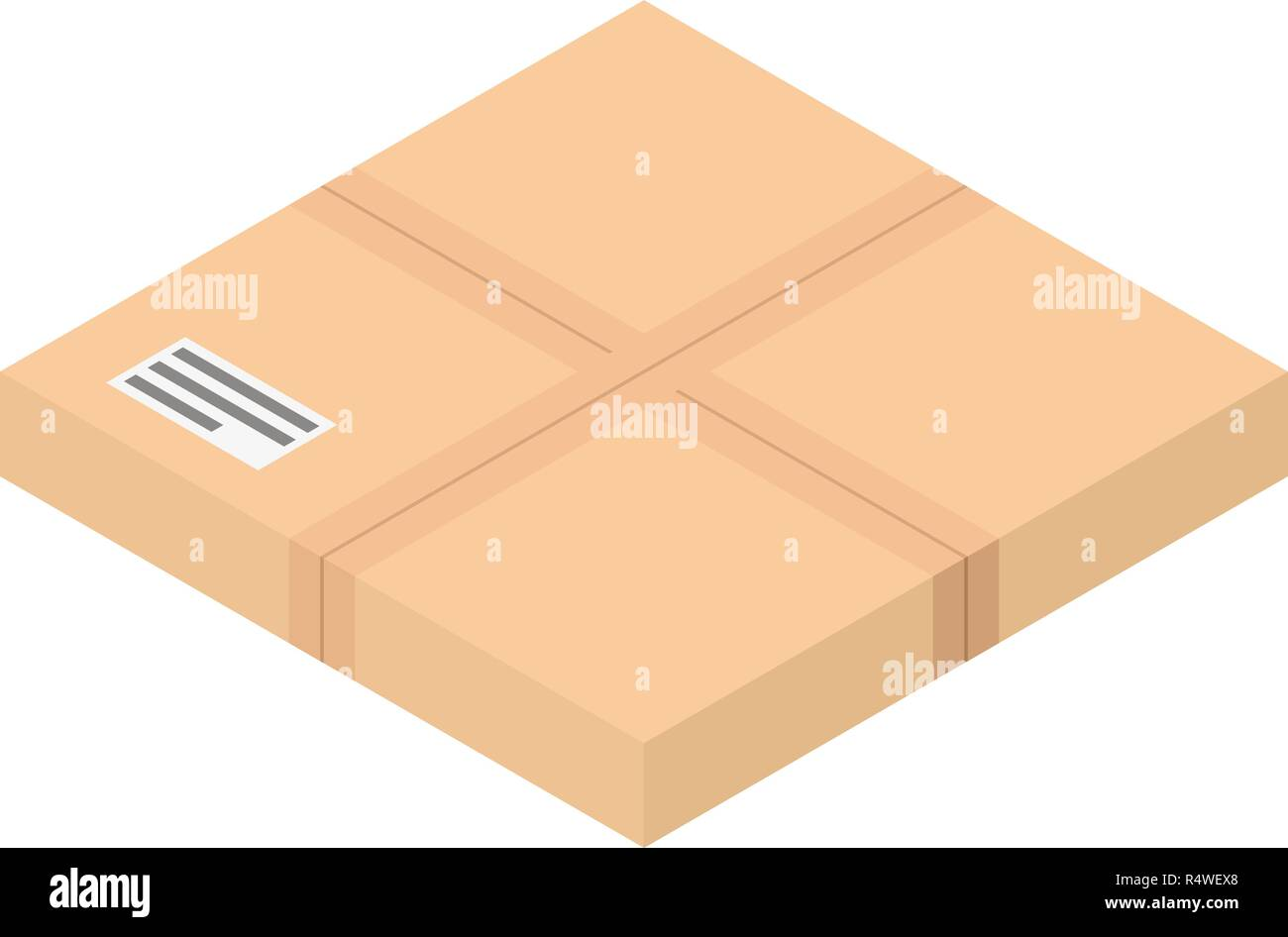 Flat postal box icon. Isometric of flat postal box vector icon for web design isolated on white background - Stock Vector