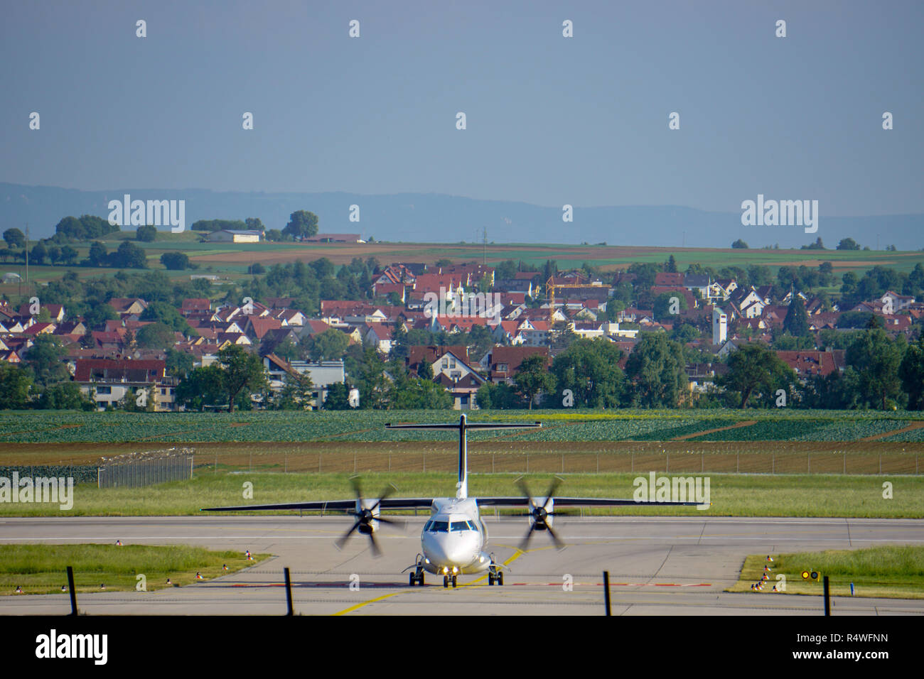 landed aircraft with propeller - Stock Image