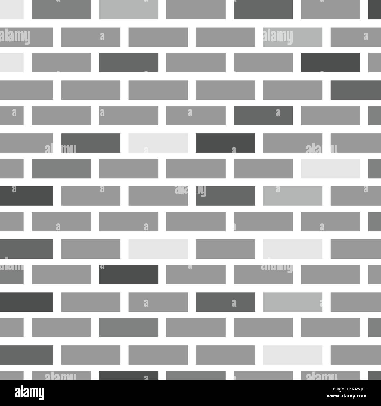 Vector Illustration Brick Wall Of Gray Bricks Of Different Colors