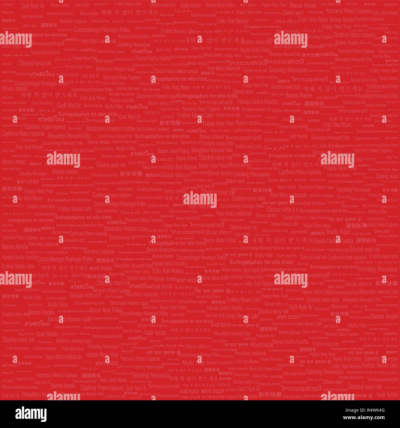 Christmas & New Year Themed Background High Density Tile Contains 'Happy New Year' Text in Many Different Languages on Red Background - Stock Image