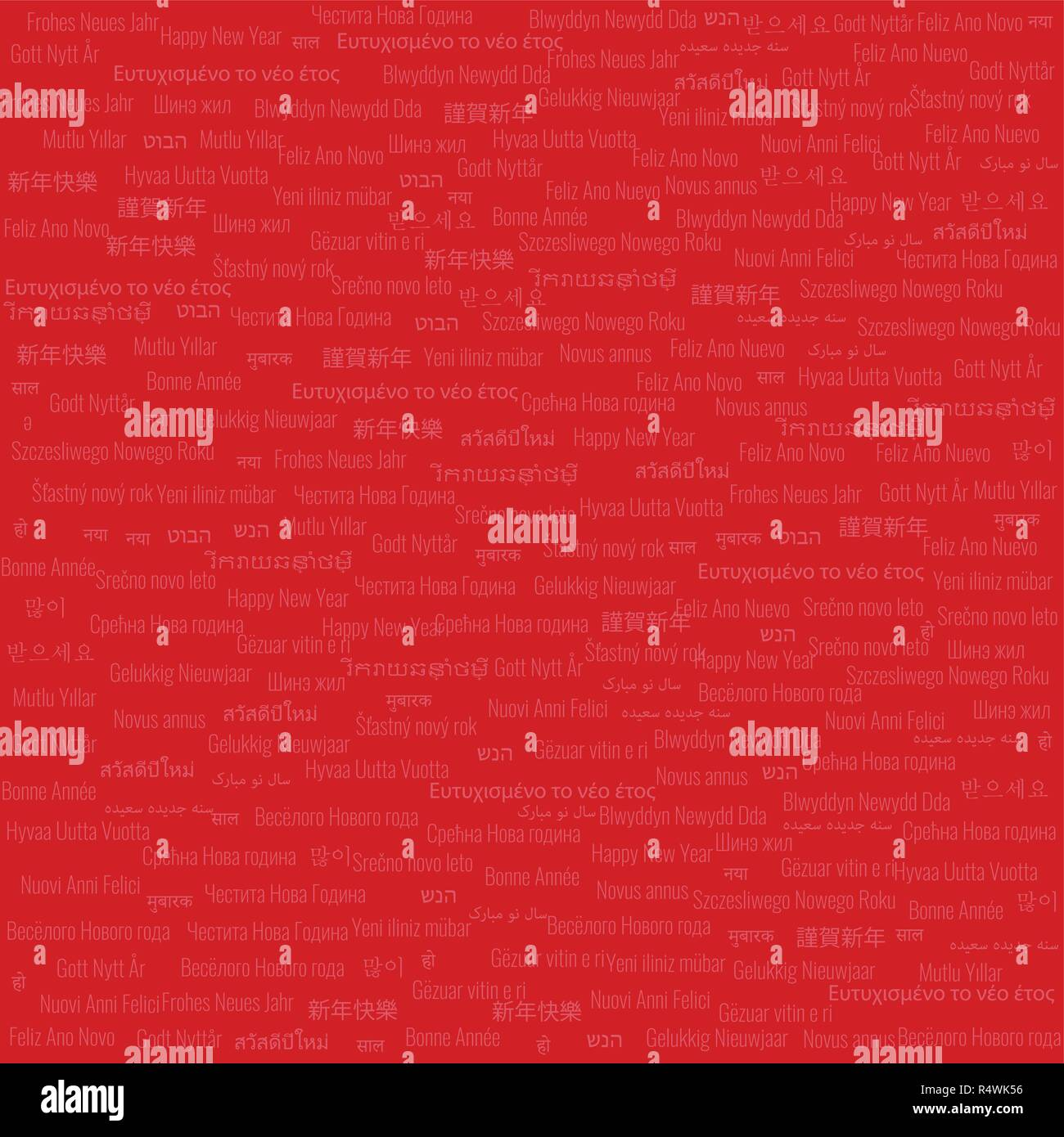 Christmas & New Year Themed Background Medium Density Tile Contains 'Happy New Year' Text in Many Different Languages on Red Background - Stock Image
