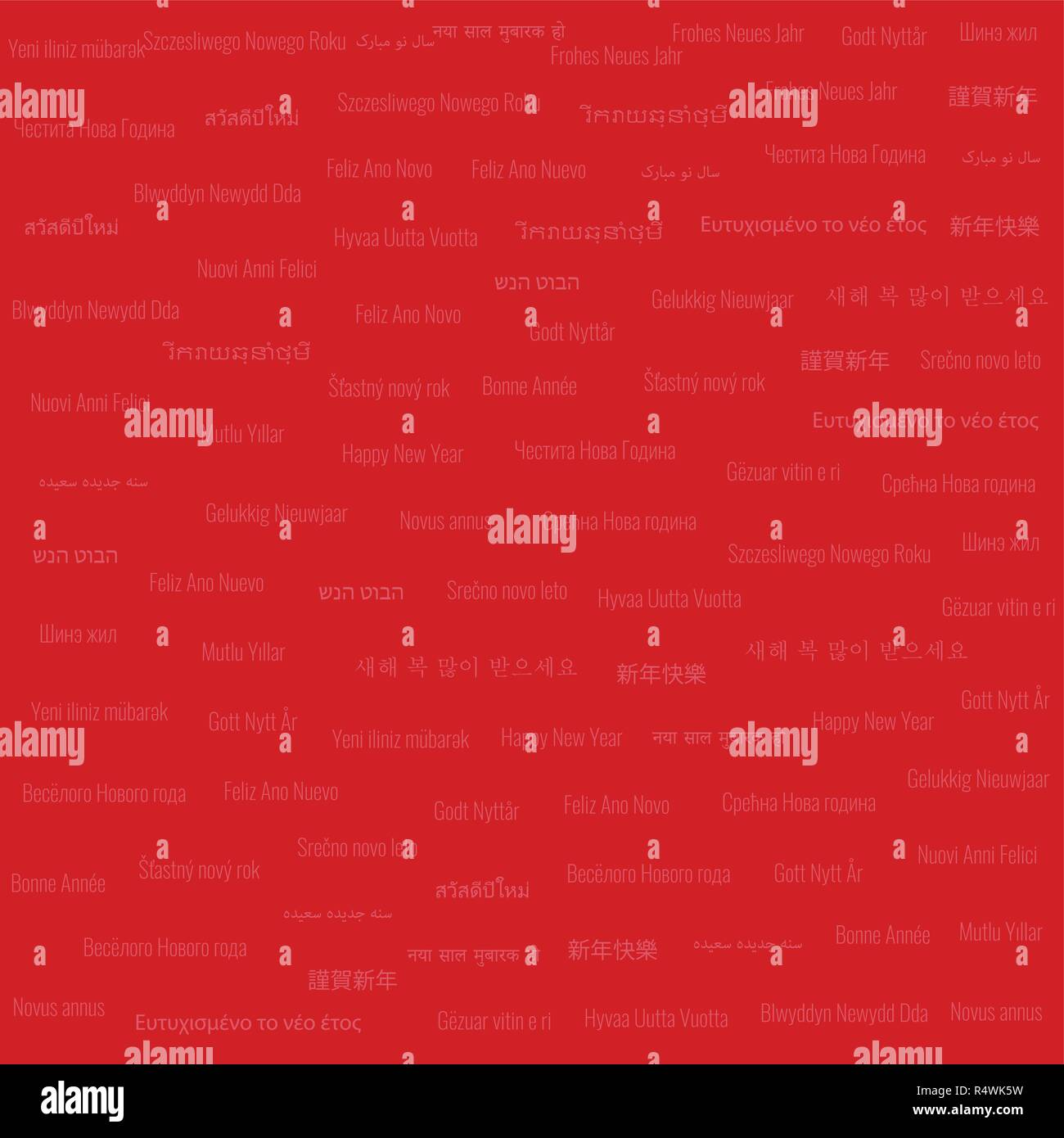 Christmas & New Year Themed Background Low Density Tile Contains 'Happy New Year' Text in Many Different Languages on Red Background - Stock Image