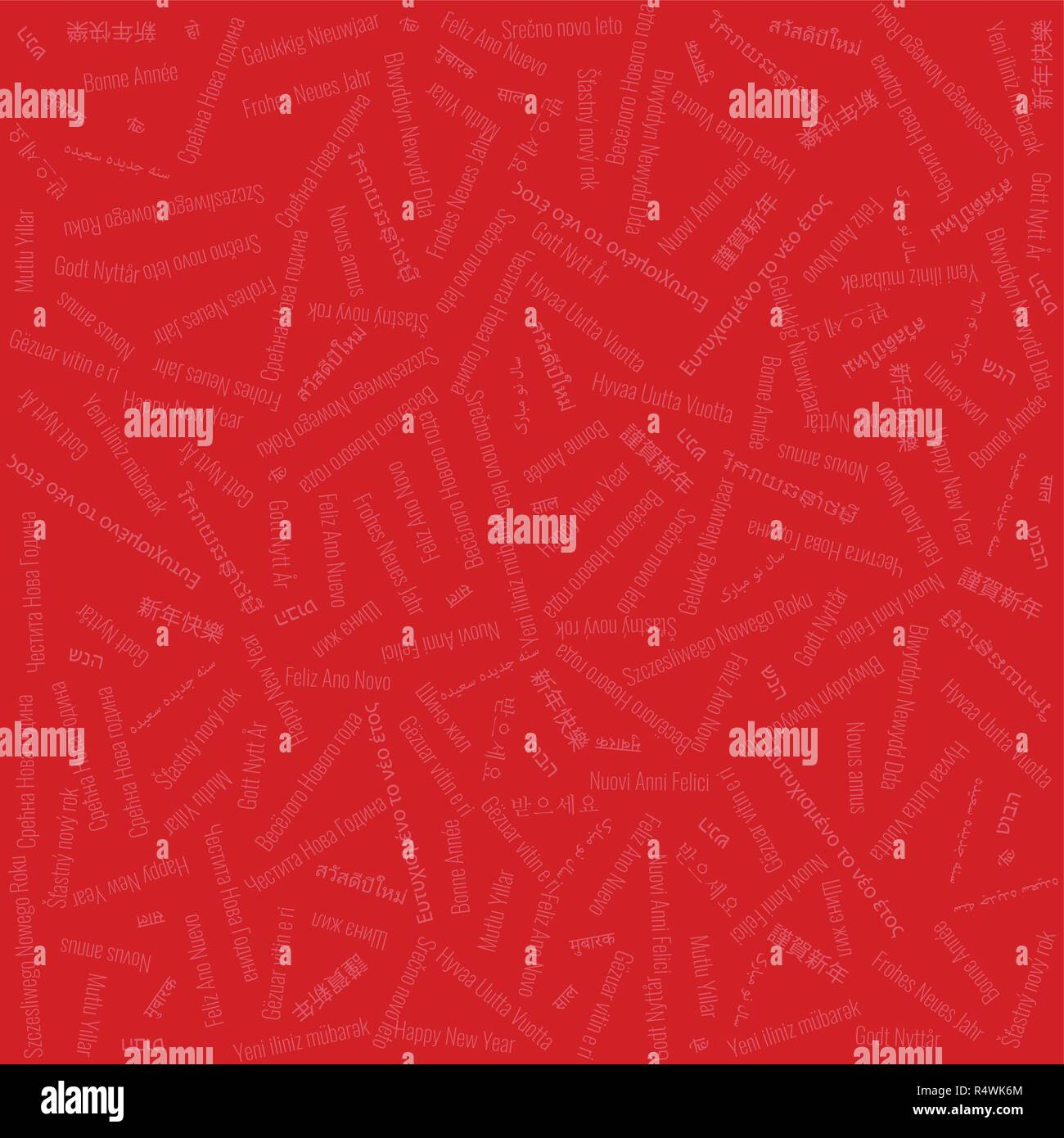 Christmas & New Year Themed Background Tile Contains Jumbled 'Happy New Year' Text in Many Different Languages on Red Background - Stock Image