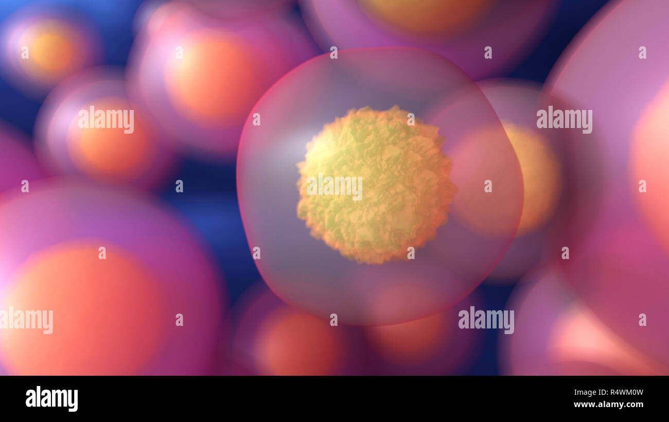 Abstract microbiology background with cells. 3d render illustration - Stock Image