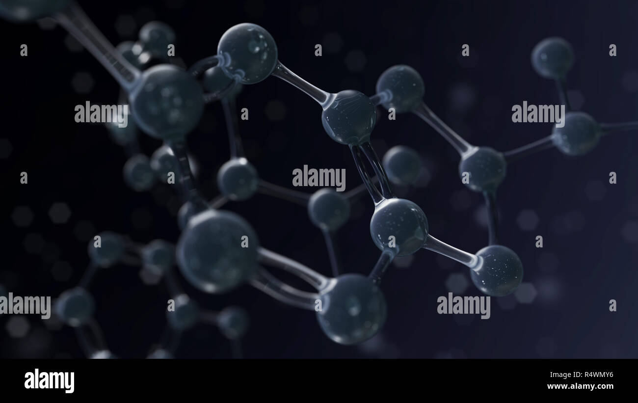 Science dark background with atom structure. 3d render illustration Stock Photo