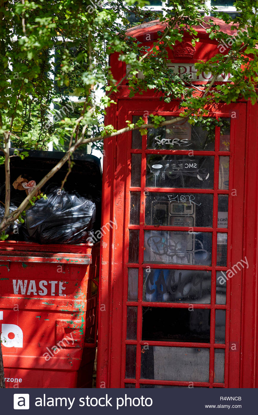 Discarded Red Telephone Box in Waste in Oxford - Stock Image
