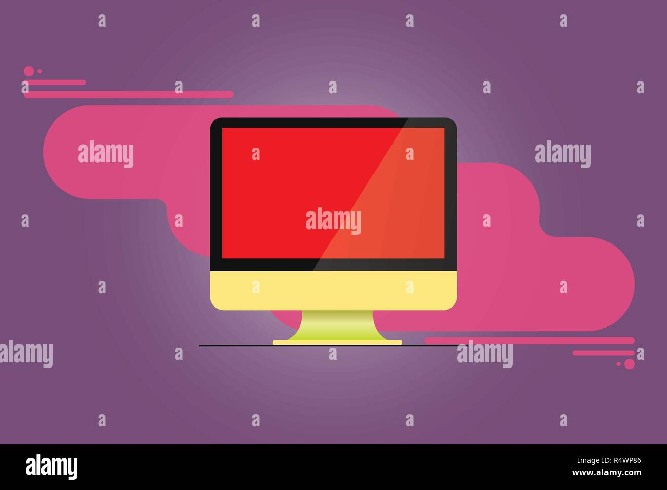 Design business concept Empty copy space modern abstract background. Mounted Computer Monitor Blank Reflected Screen on Abstract Background - Stock Image