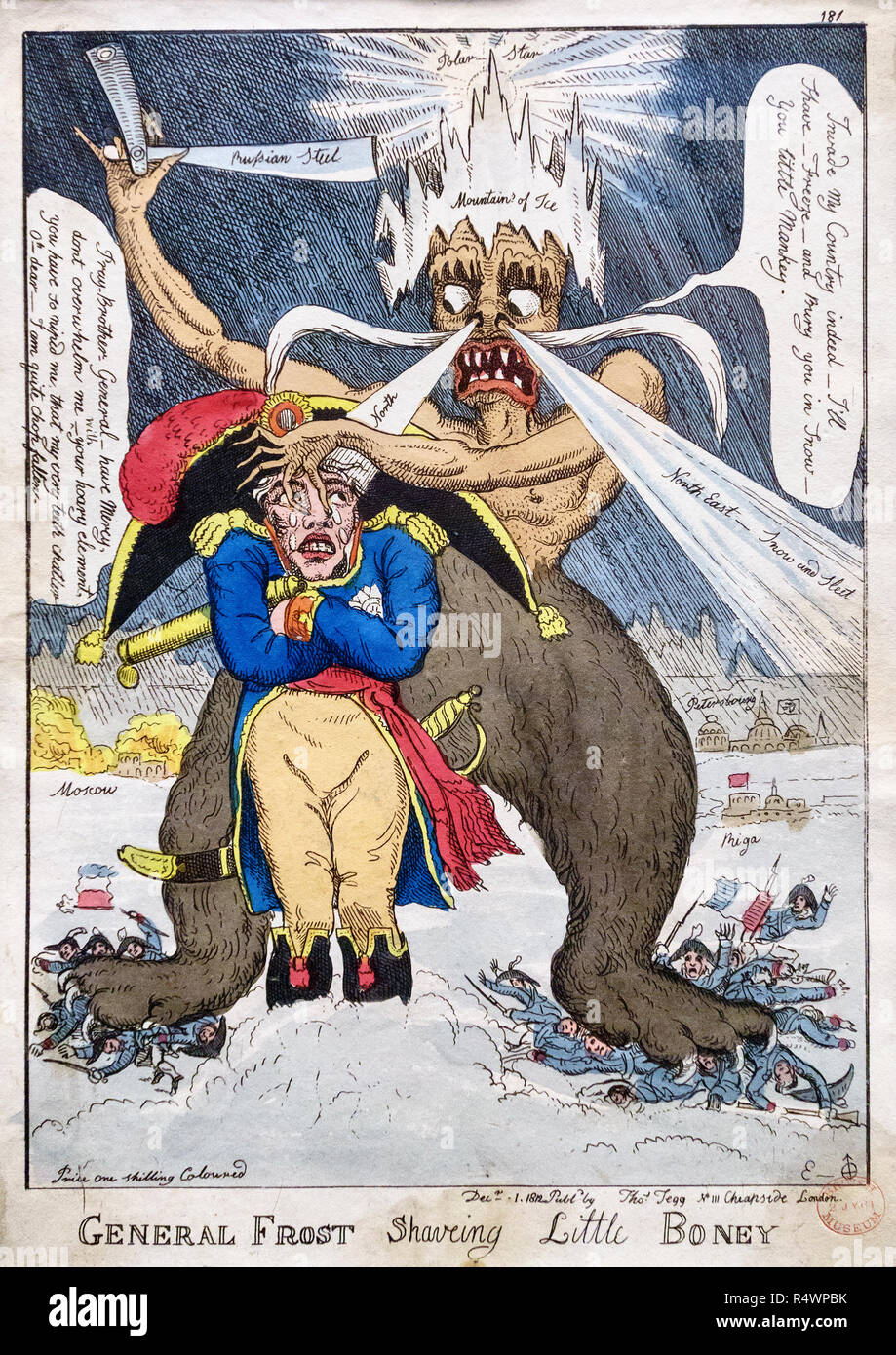 Emperor Napoleon being roughly 'shaved' by the bitter Russian winter, represented as a demon barber. It refers to Napoleon's 1812 retreat from Moscow - Stock Image