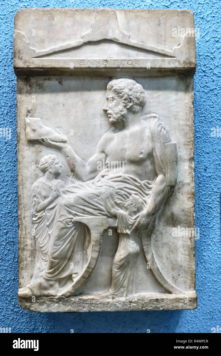 In the British Museum, London, UK. Tombstone of Xanthippos, possibly a shoemaker, from Athens, Greece, 430 BC (BCE) - Stock Image