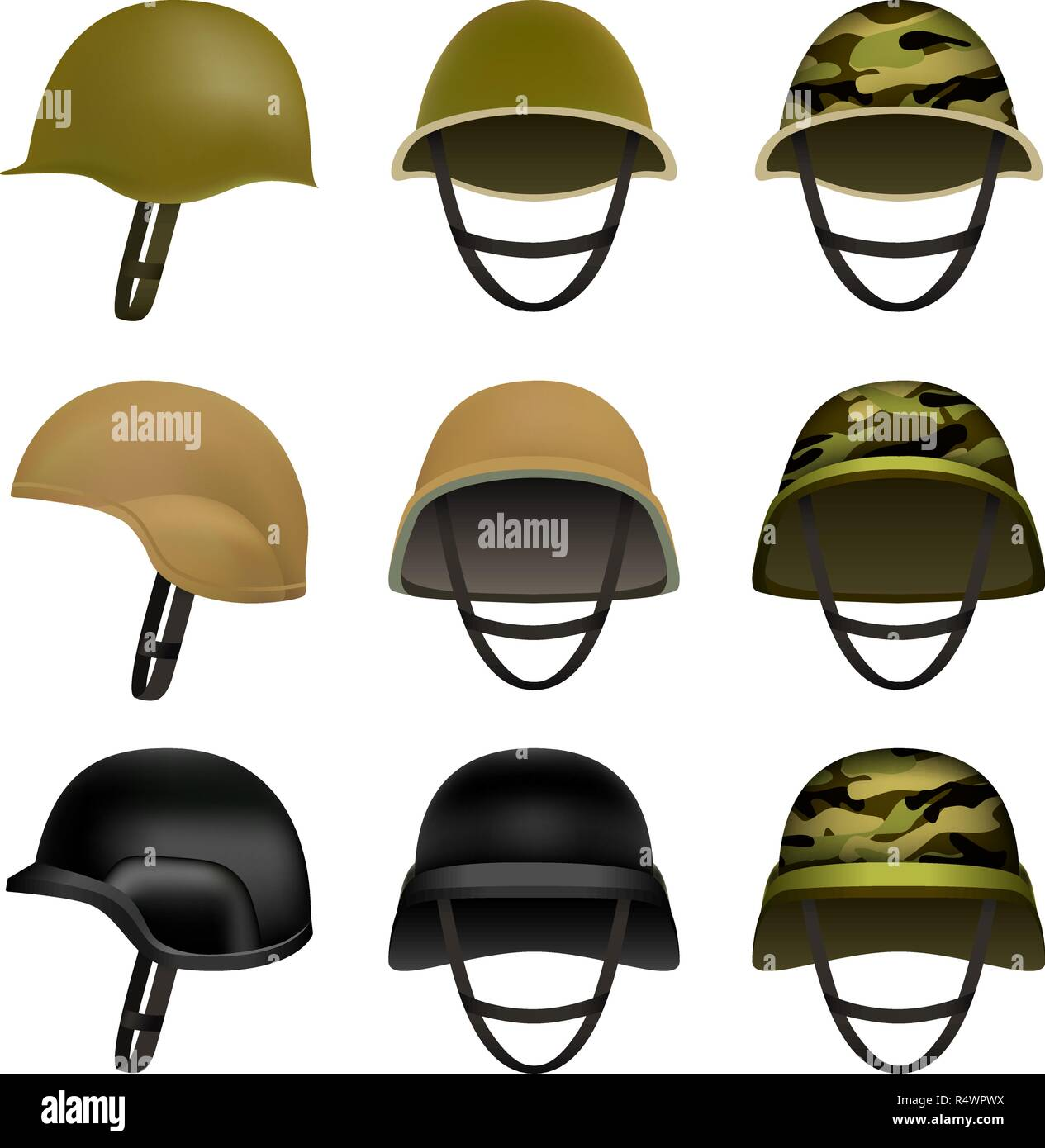 Army helmet soldier military hat mockup set. Flat illustration of 9 army helmet soldier military hat vector mockups for web Stock Vector
