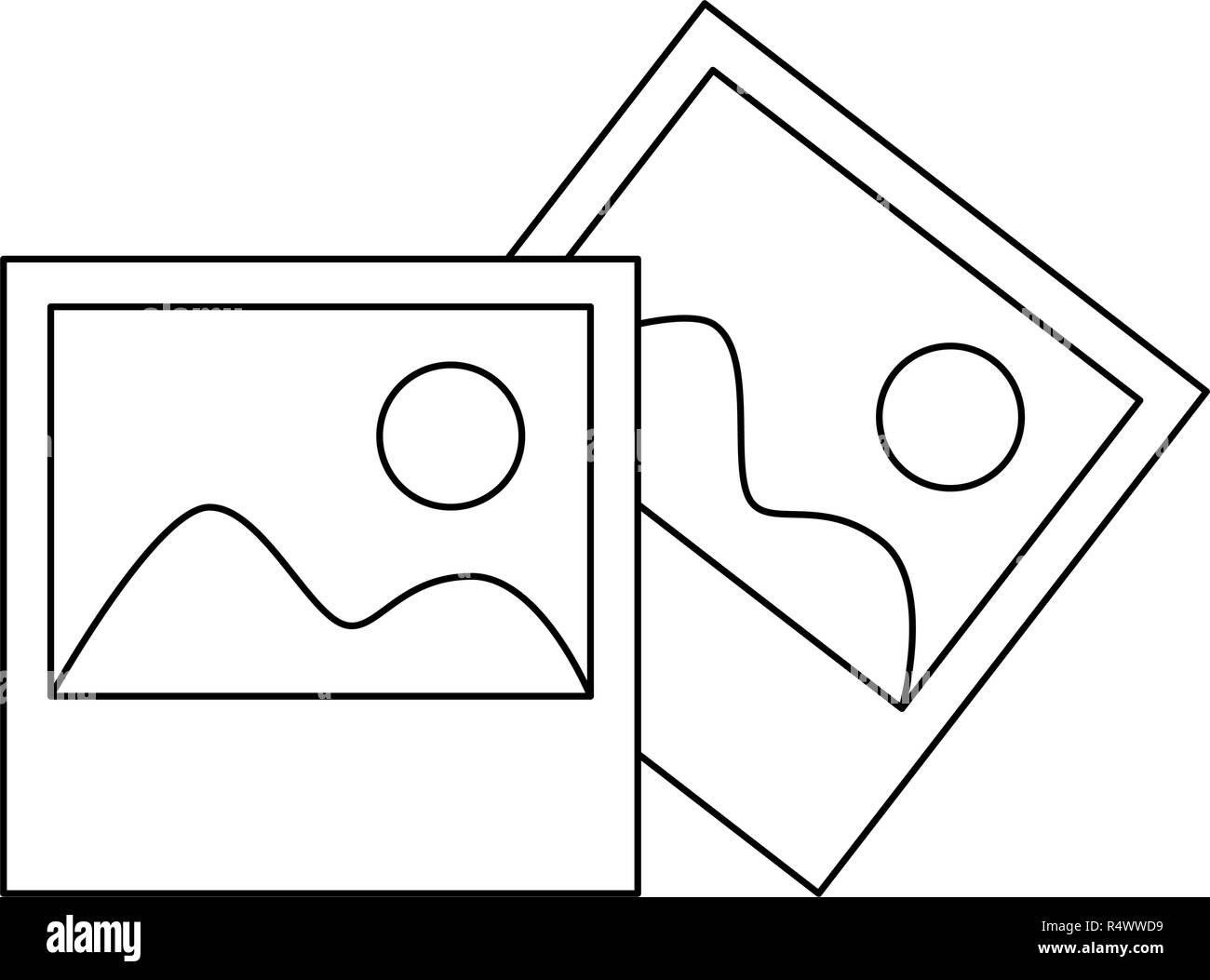 Landscape photos symbol black and white - Stock Image