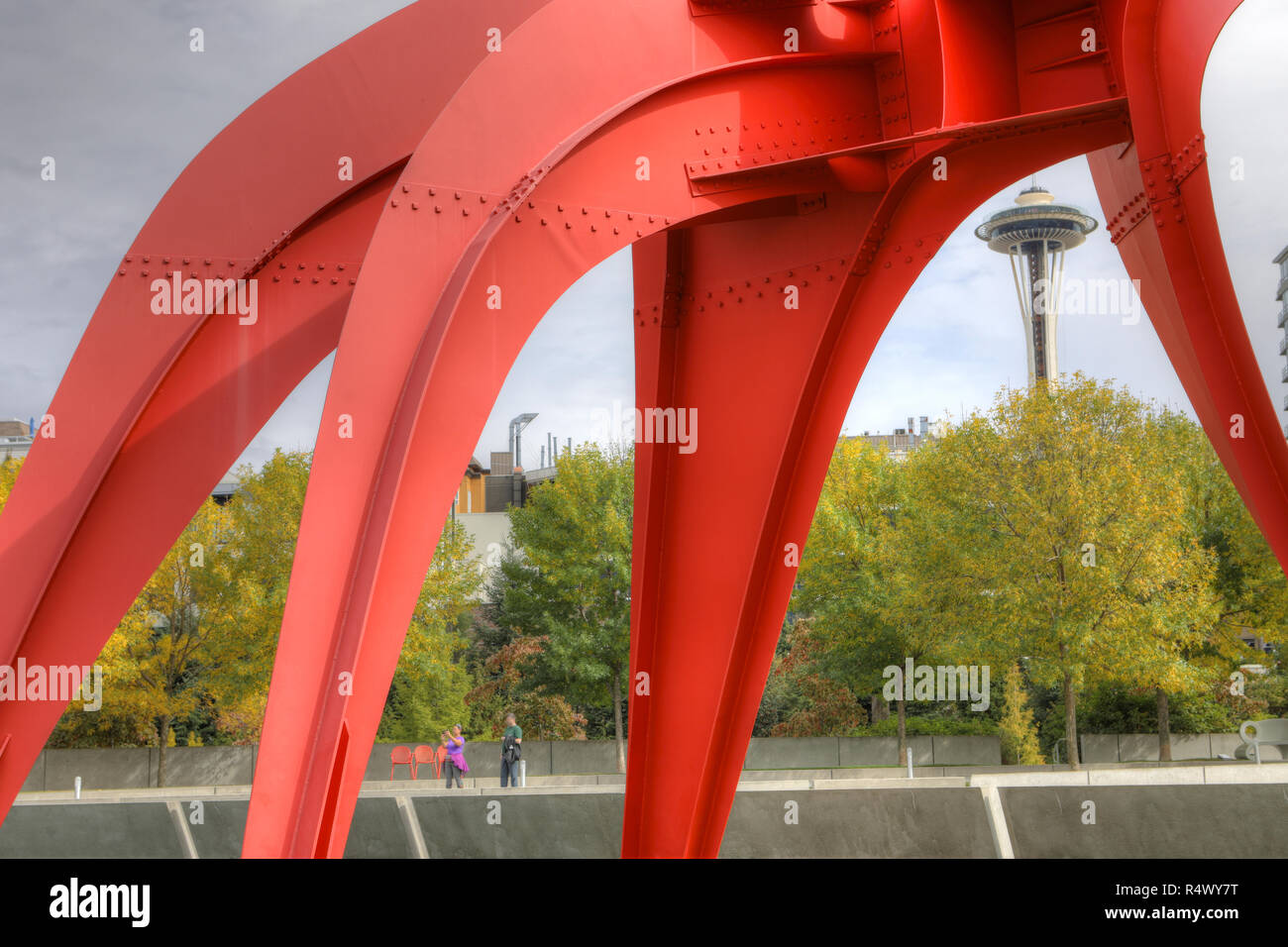 The Space Needle from Olympic Sculpture Park in Seattle, Washington Stock Photo