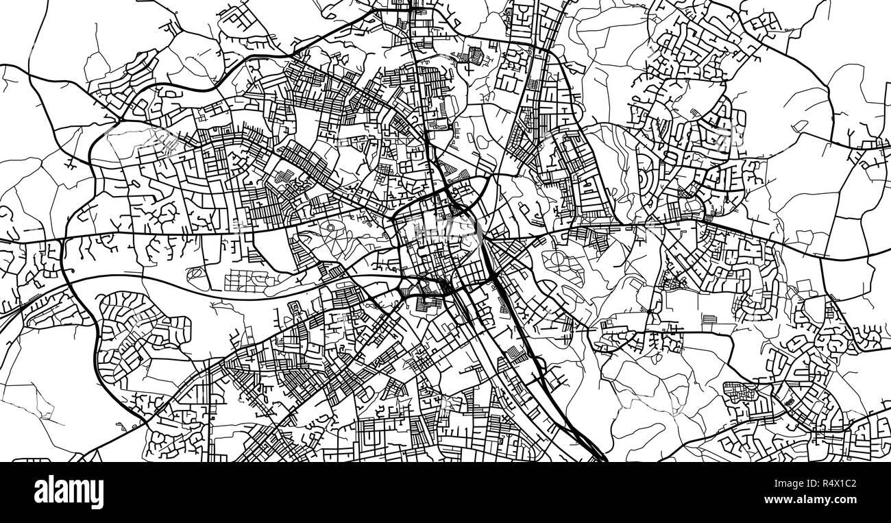 Urban vector city map of Bolton, England - Stock Vector