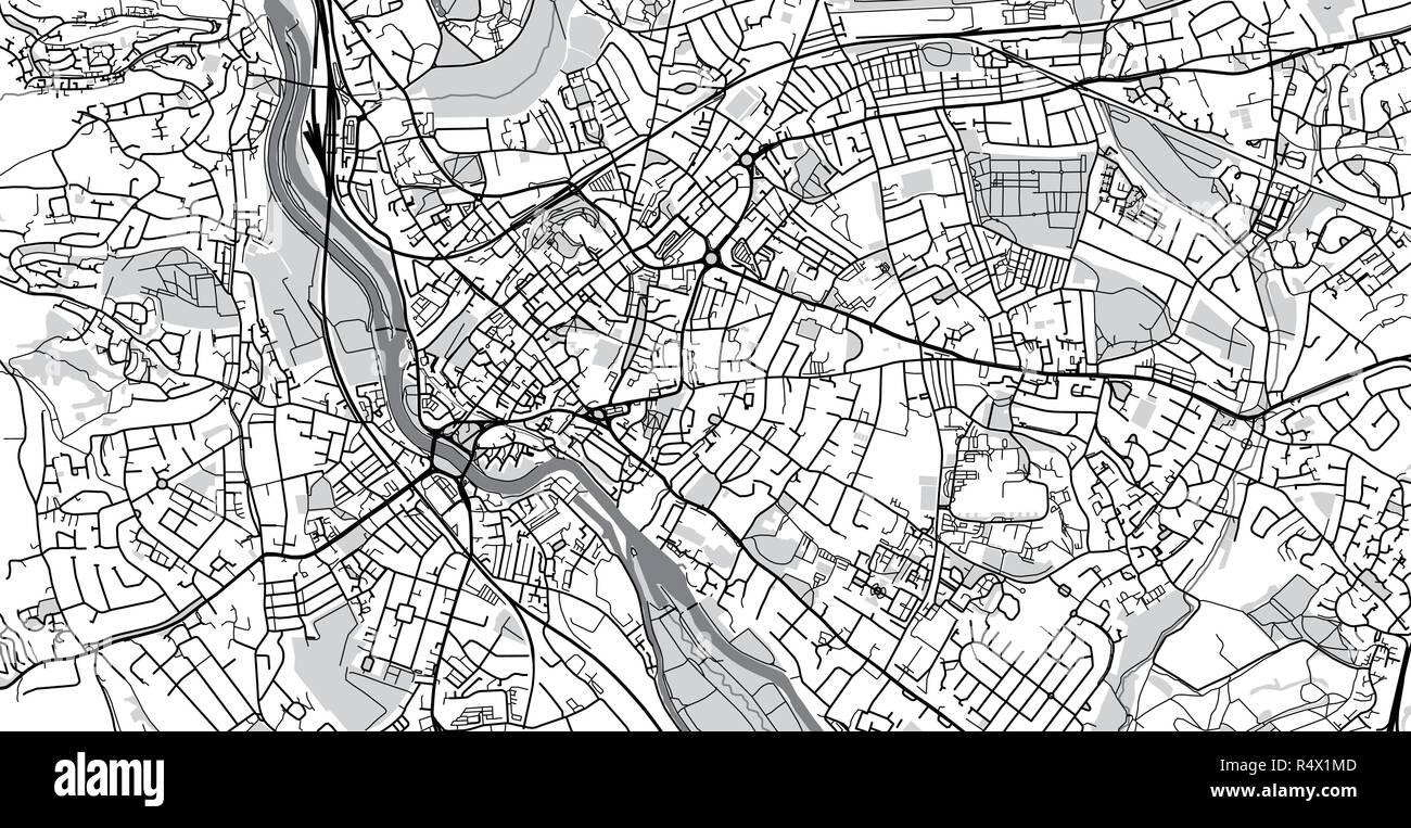 Urban Vector City Map Of Exeter England Stock Vector Art