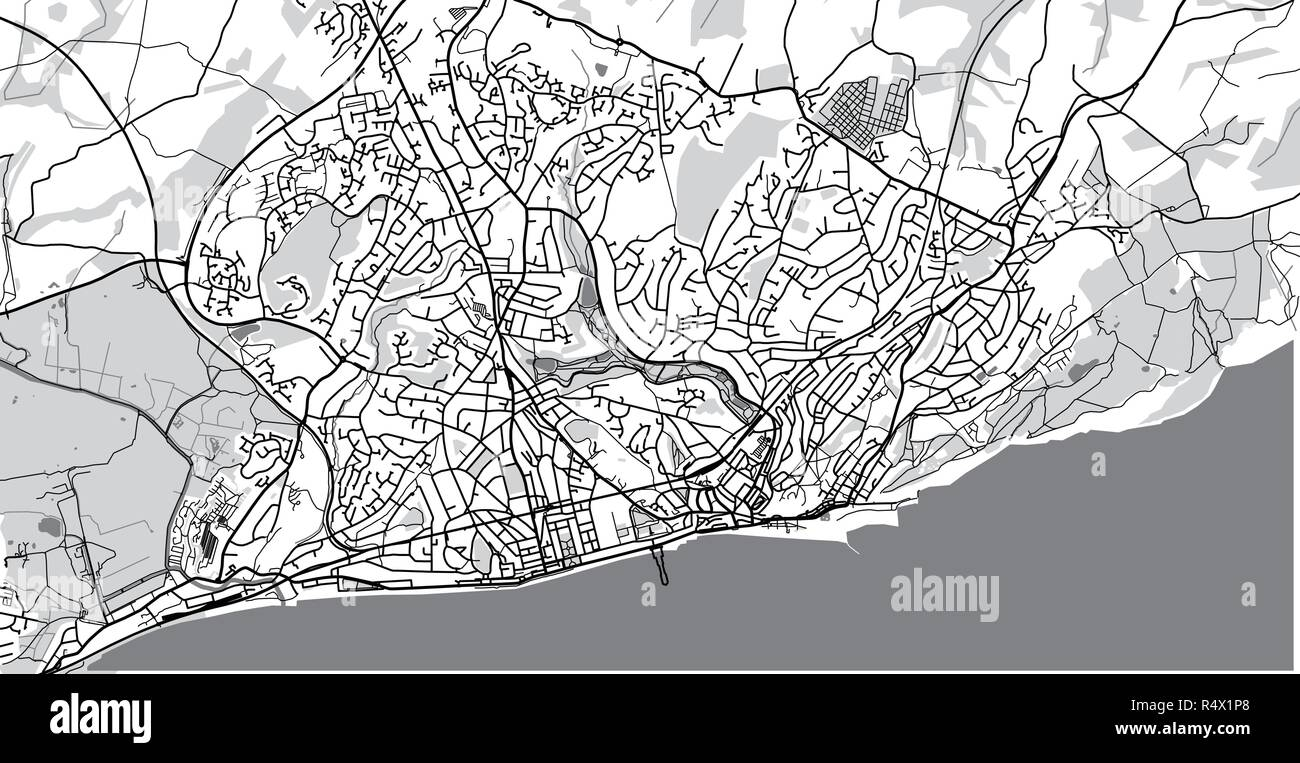 Map Of England Hastings.Urban Vector City Map Of Hastings England Stock Vector Art