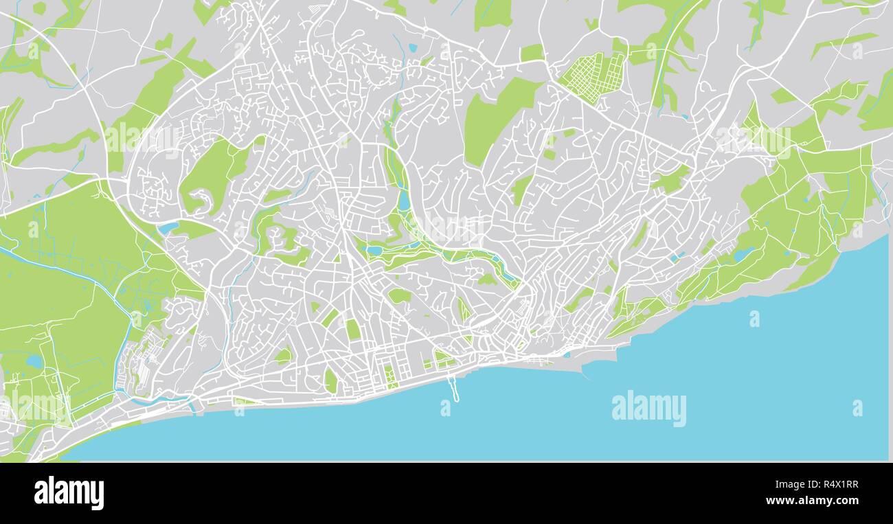 Urban Vector City Map Of Hastings England Stock Vector Art