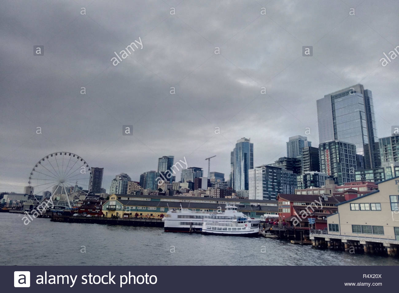 Aerial drone photography Seattle WA USA - Stock Image
