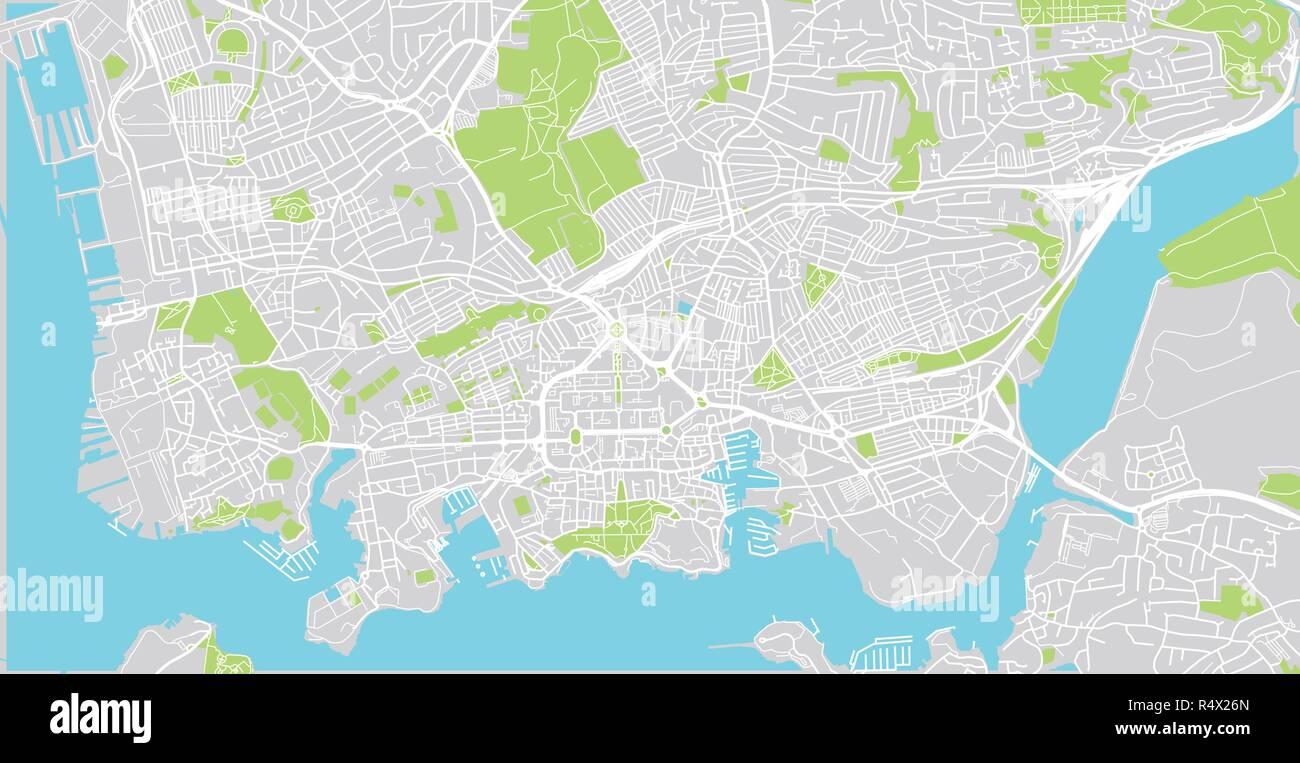 Urban Vector City Map Of Plymouth England Stock Vector Art