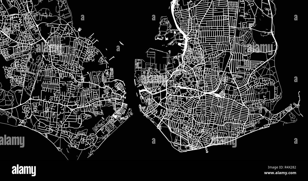 Map Of England Portsmouth.Urban Vector City Map Of Portsmouth England Stock Vector Art