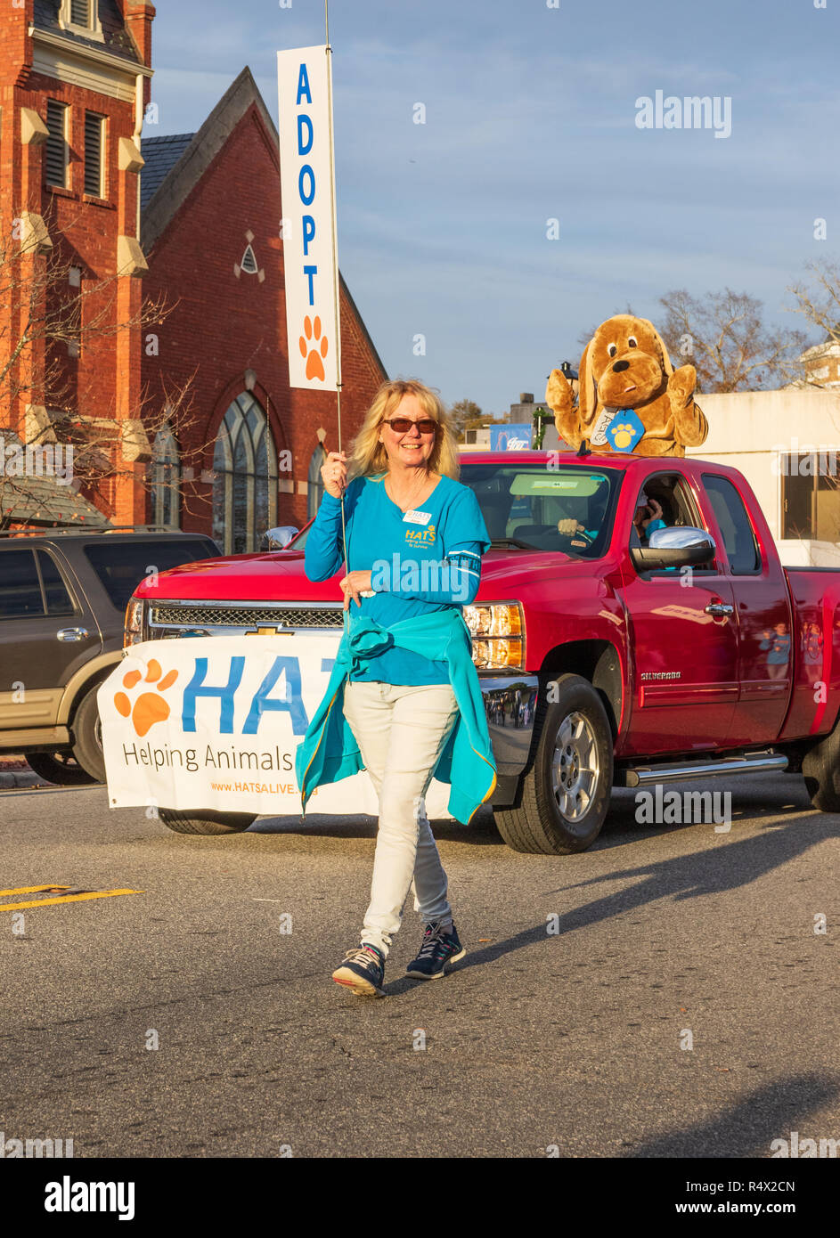 LINCOLNTON, NC, USA-11/25/18: An animal adoption organization in Christmas parade. - Stock Image