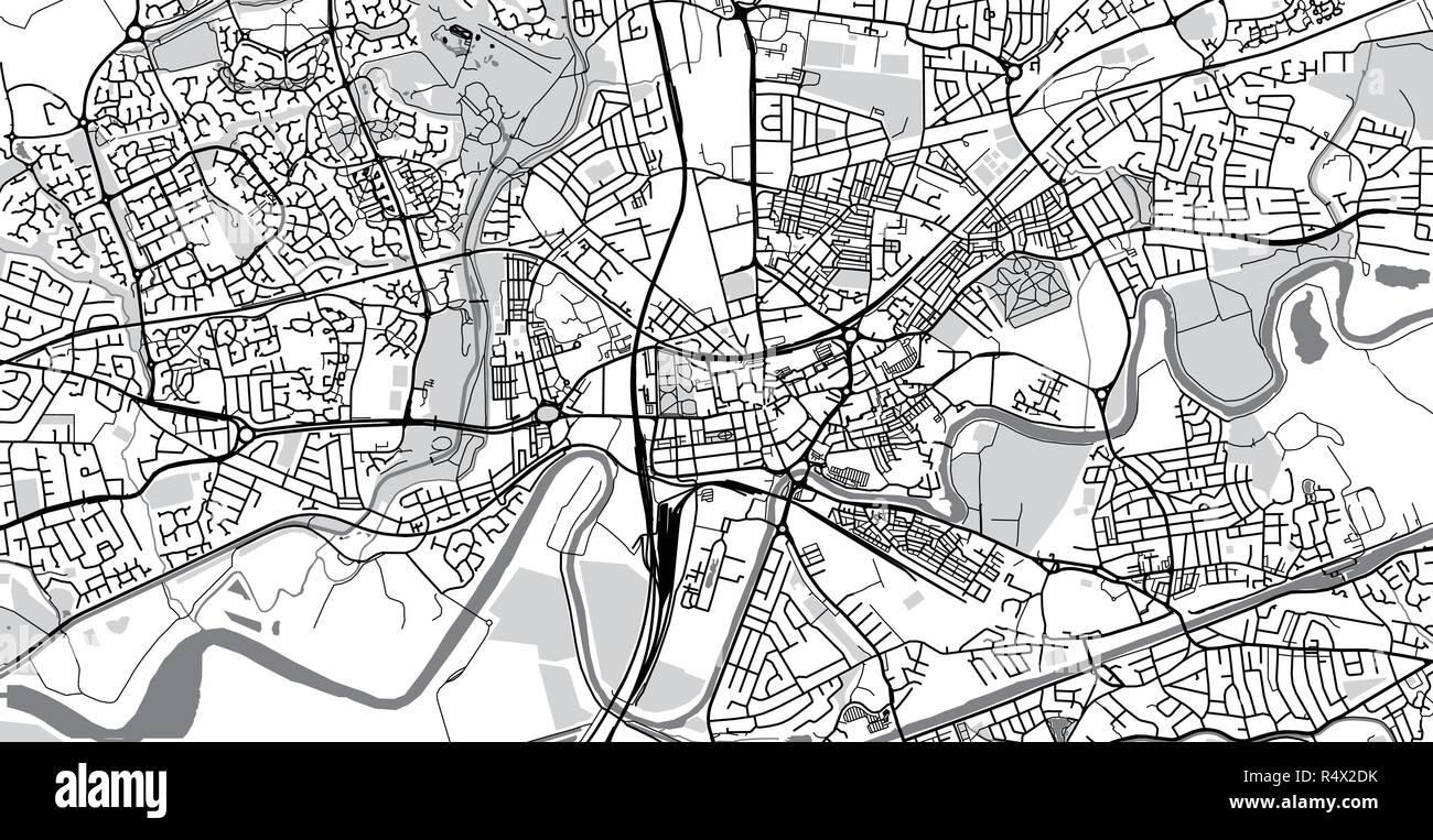 Urban vector city map of Warrington, England Stock Vector ...