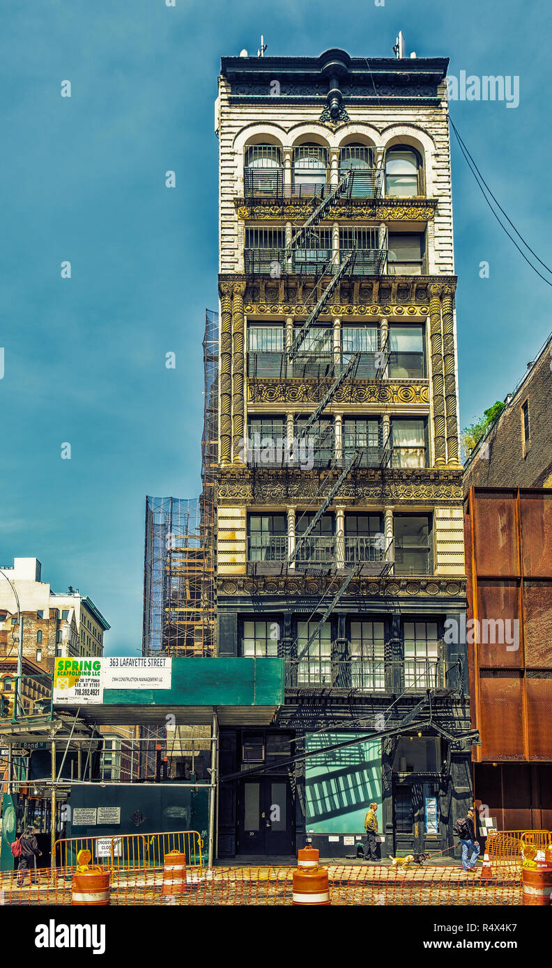 New York City, USA, May 2018, building in Bond street being renovated part of the area gentrification in Manhattan - Stock Image