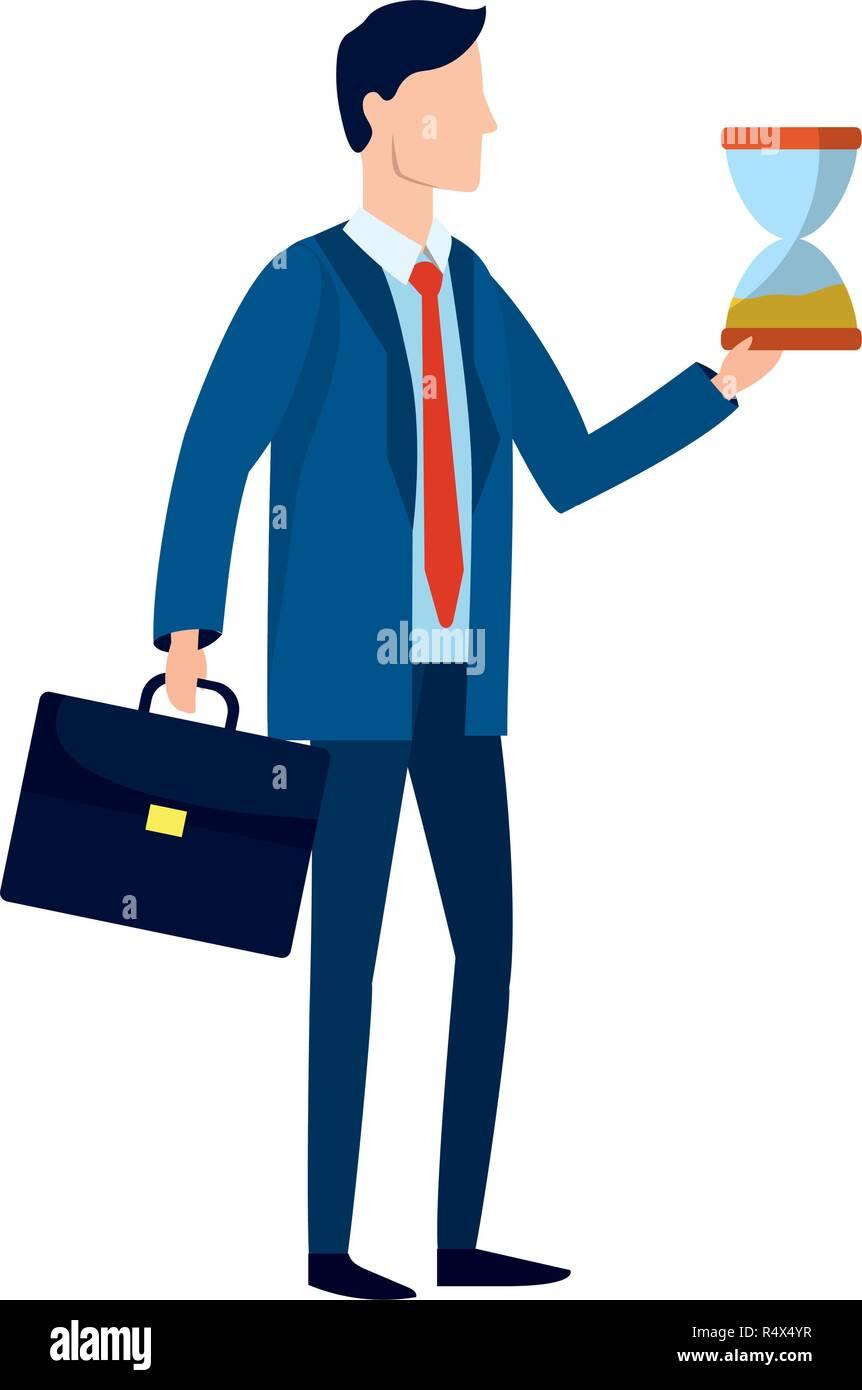 successful businessman avatar with sandclock cartoon ...