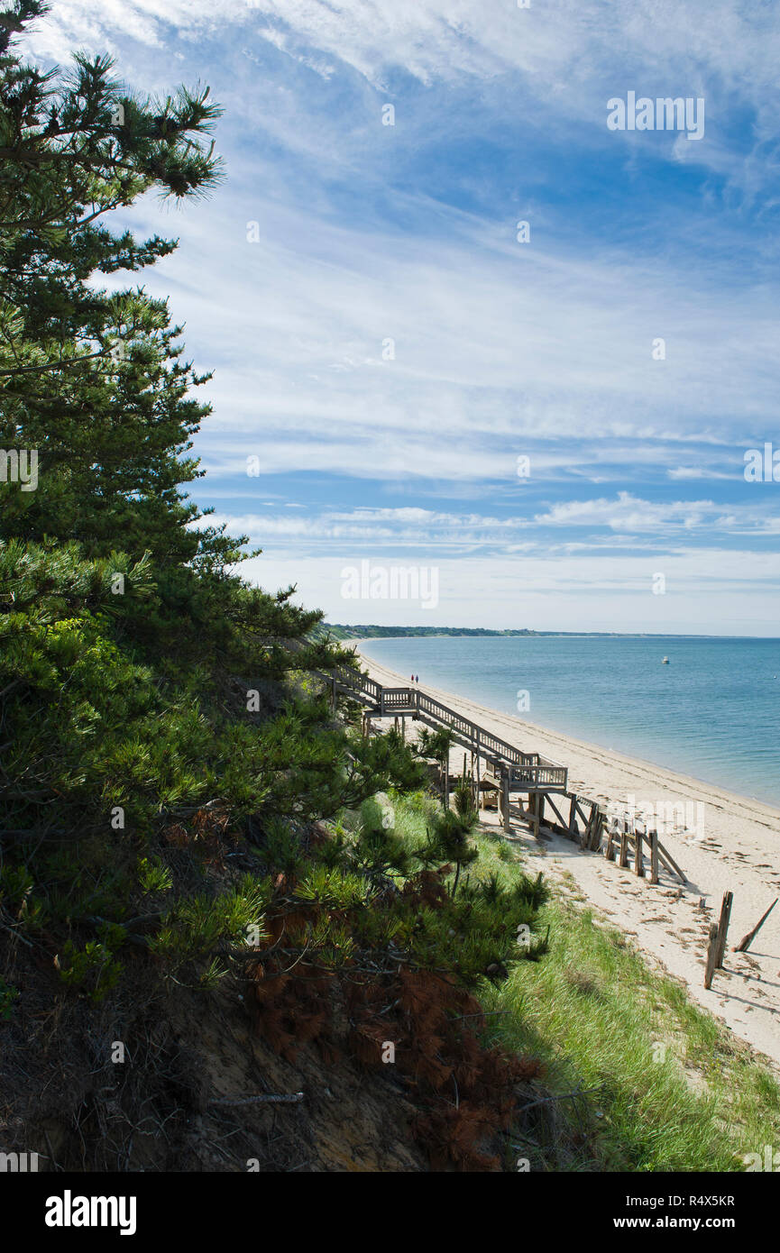 Truro, Cape Cod, MA: Stairs leading to the beach - Stock Image