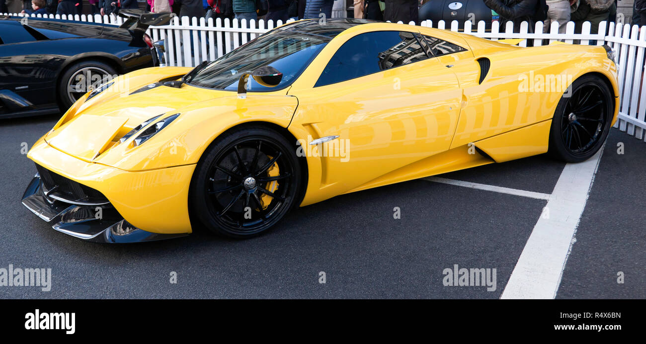 Side view of a  Pagani Huayra, in the supercar paddock at the 2018 Regents Street Motor Show - Stock Image