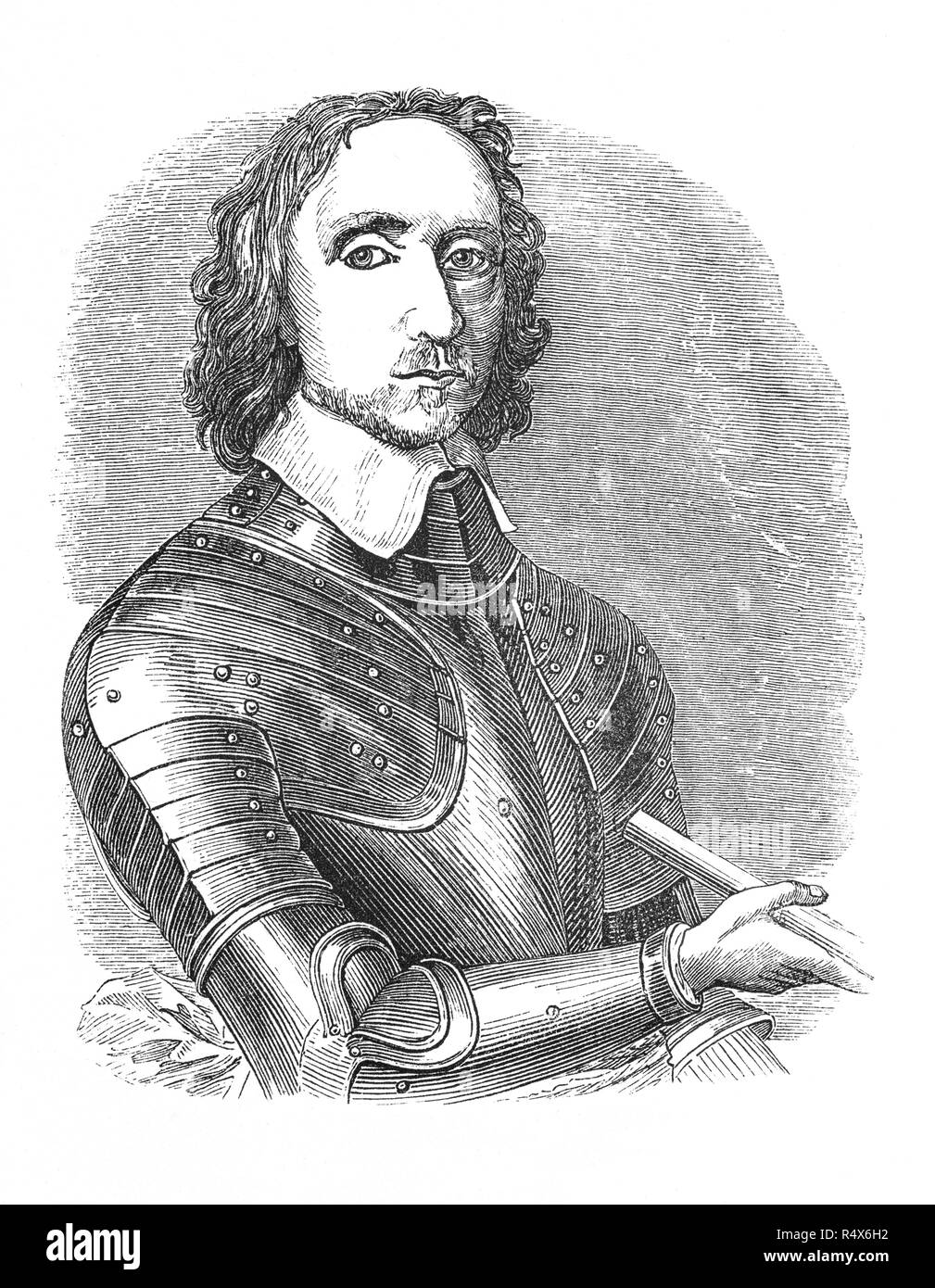 Oliver Cromwell (1599-1658) was elected Member of Parliament and entered the English Civil Wars on the side of the Parliamentarians. Nicknamed 'Old Ironsides', he demonstrated his ability as a commander and was quickly promoted from leading a single cavalry troop to being one of the principal commanders of the New Model Army, playing an important role under General Sir Thomas Fairfax in the defeat of the Royalis 11th forces. He went on to serve as Lord Protector of the Commonwealth of England, Scotland, and Ireland from 1653 until his death. - Stock Image
