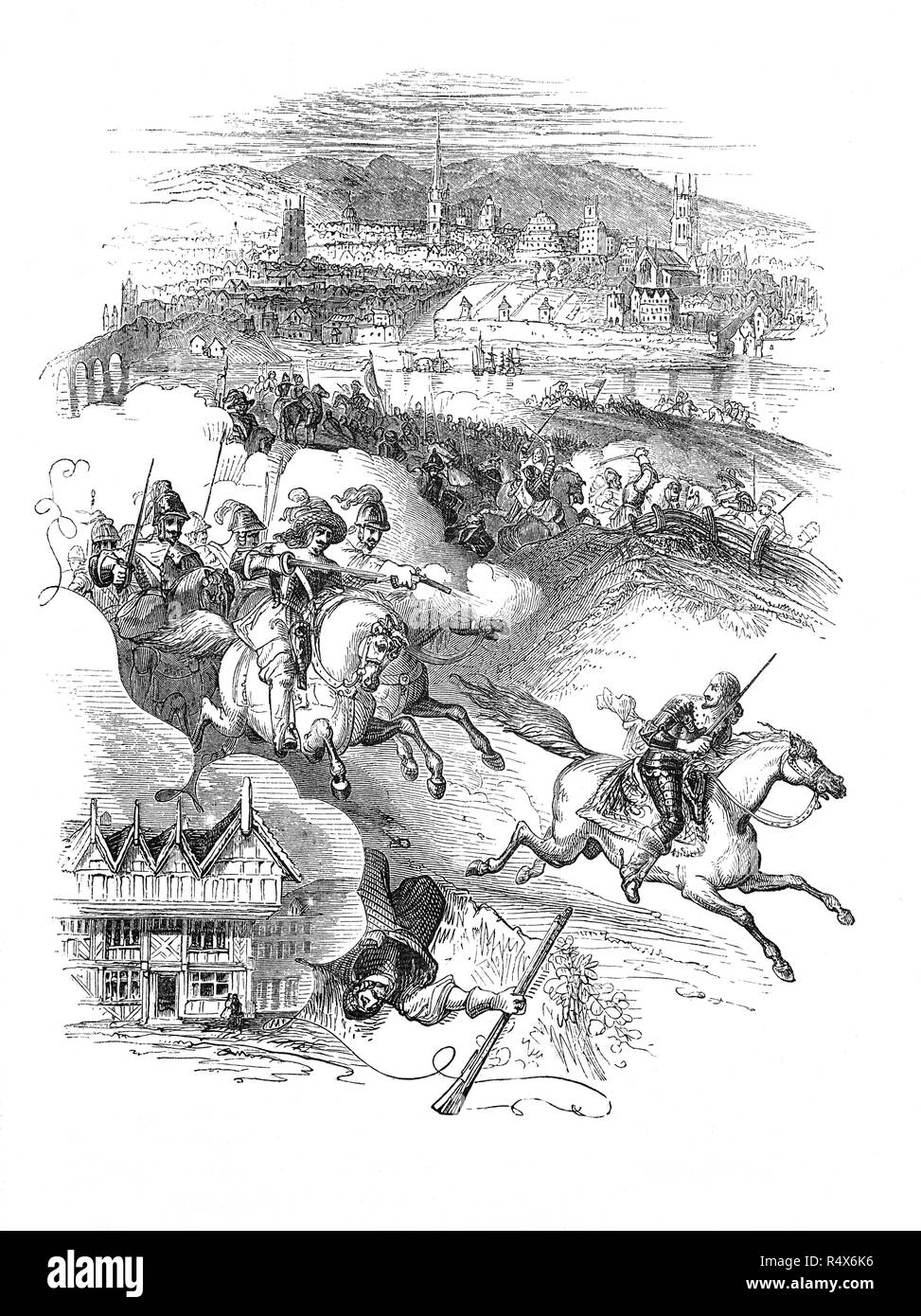 A collage of the Battle of Worcester, the final battle of the English Civil War, when Oliver Cromwell's New Model Army defeated King Charles II's Cavaliers on 3 September 1651.  Overlooking the River Severn, the City of Worcester in Worcestershire, England, supported the Parliamentary cause before the outbreak of civil war in 1642, but was city was swiftly occupied by the Royalists, as Royalist power collapsed Worcester was placed under siege finally surrendering on 23 July, bringing the first civil war to a close in Worcestershire.  After the battle Charles II  eventually escaped to France. - Stock Image
