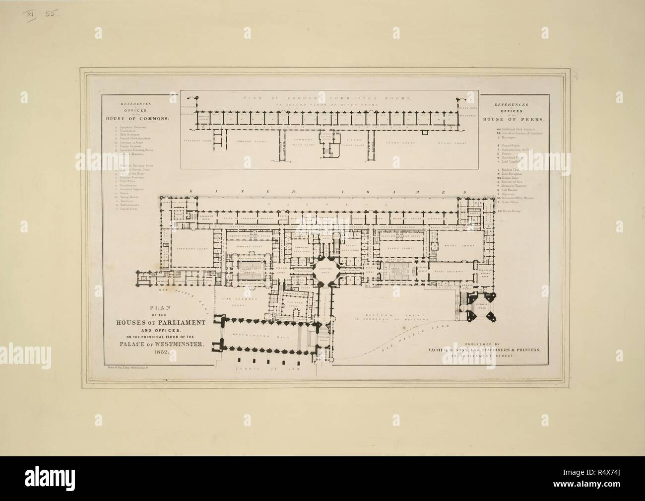 Plan of the houses of parliament and offices on the principal floor of the palace of westminster 1852 originally published produced in 1852