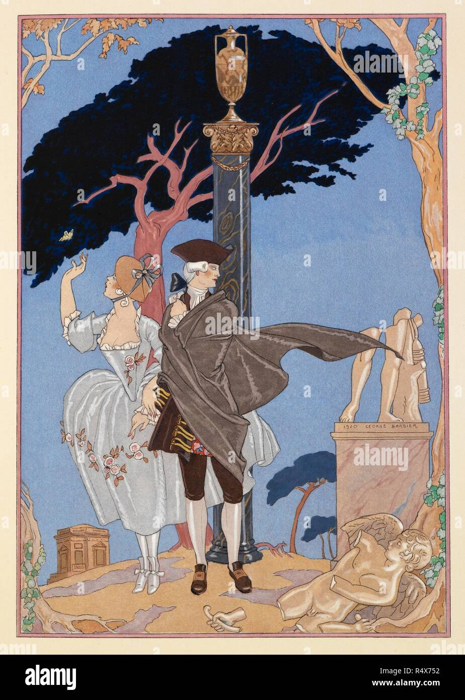 L'Amour Par Terre. A man and woman out walking among ruins. Fêtes galantes. [Poèmes]. Illustrations de George Barbier. Paris: H. Piazza, 1928. Fêtes Galantes is an album consisting of romantic prints of French life among the upper classes of the 19th century. Rich aristocrats of the French court used to play gallant scenes from the commedia dell' arte that were called Fetes Galantes. The prints accompany Paul Verlaine's poetry. Each album contains 20 lithograph prints with pochoir highlighting by George Barbier. Source: L.45/2847, before page 87. Language: French. - Stock Image