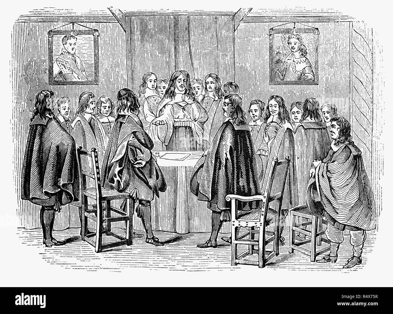 The English ambassadors at the Hague arranging the terms of Charles II's restoration. After the death of Cromwell in 1658, Charles's chances of regaining the Crown seemed slim as Cromwell was succeeded as Lord Protector by his son, Richard. However, the new Lord Protector had little experience of either military or civil administration and formally renounced power nine months after succeeding.  The new Parliament assembled on 25 April 1660, and soon afterwards welcomed the Declaration of Breda, in which Charles promised lenience and tolerance. - Stock Image