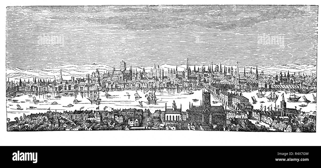 A view of London and the River Thames before the Great Fire swept through the central parts of London, England in 1666. The fire gutted the medieval City of London inside the old Roman city wall. It threatened but did not reach the aristocratic district of Westminster, Charles II's Palace of Whitehall, and most of the suburban slums. It consumed 13,200 houses, 87 parish churches, St Paul's Cathedral, and most of the buildings of the City authorities. It is estimated to have destroyed the homes of 70,000 of the City's 80,000 inhabitants. - Stock Image