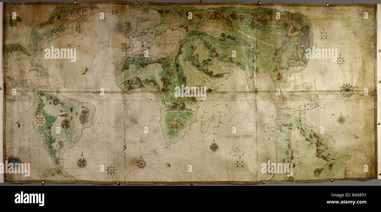 Large Scale Map Of France.A World Map A Chart Of The Globe With The French Royal Arms A