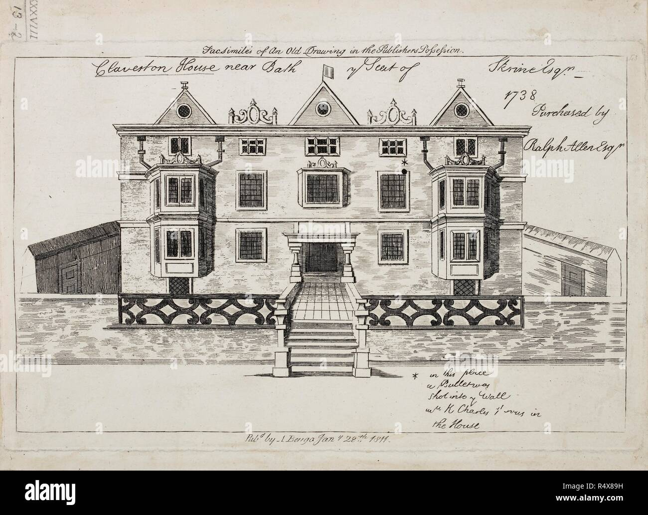 View of Claverton House near Bath. A stately home in Jacobean style.  Facade. Front elevation. View of Claverton House near Bath, 1738. View of Claverton House near Bath, 1738. A fac-simile of an old drawing. Source: Maps.K.Top.38.13-2. - Stock Image